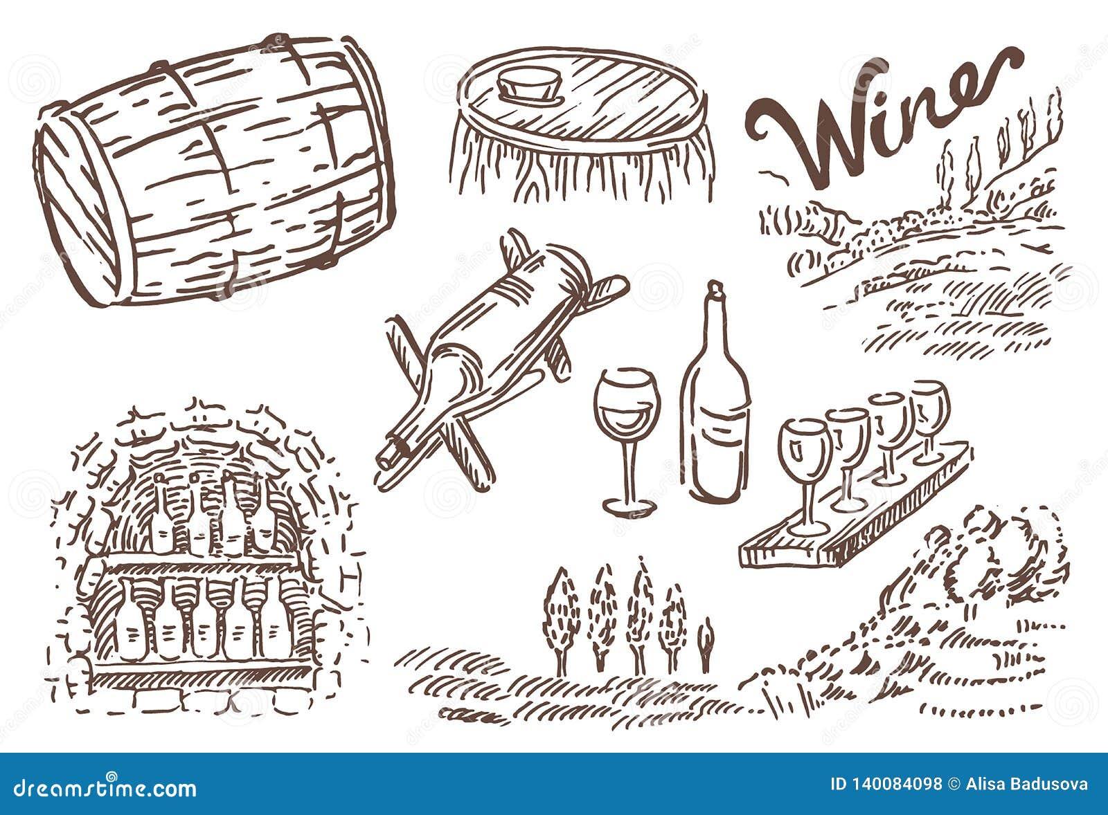 Wektorowa ręka rysujący nakreślenie wino butelka z szkłem i winogronami ilustracyjnymi na białym tle