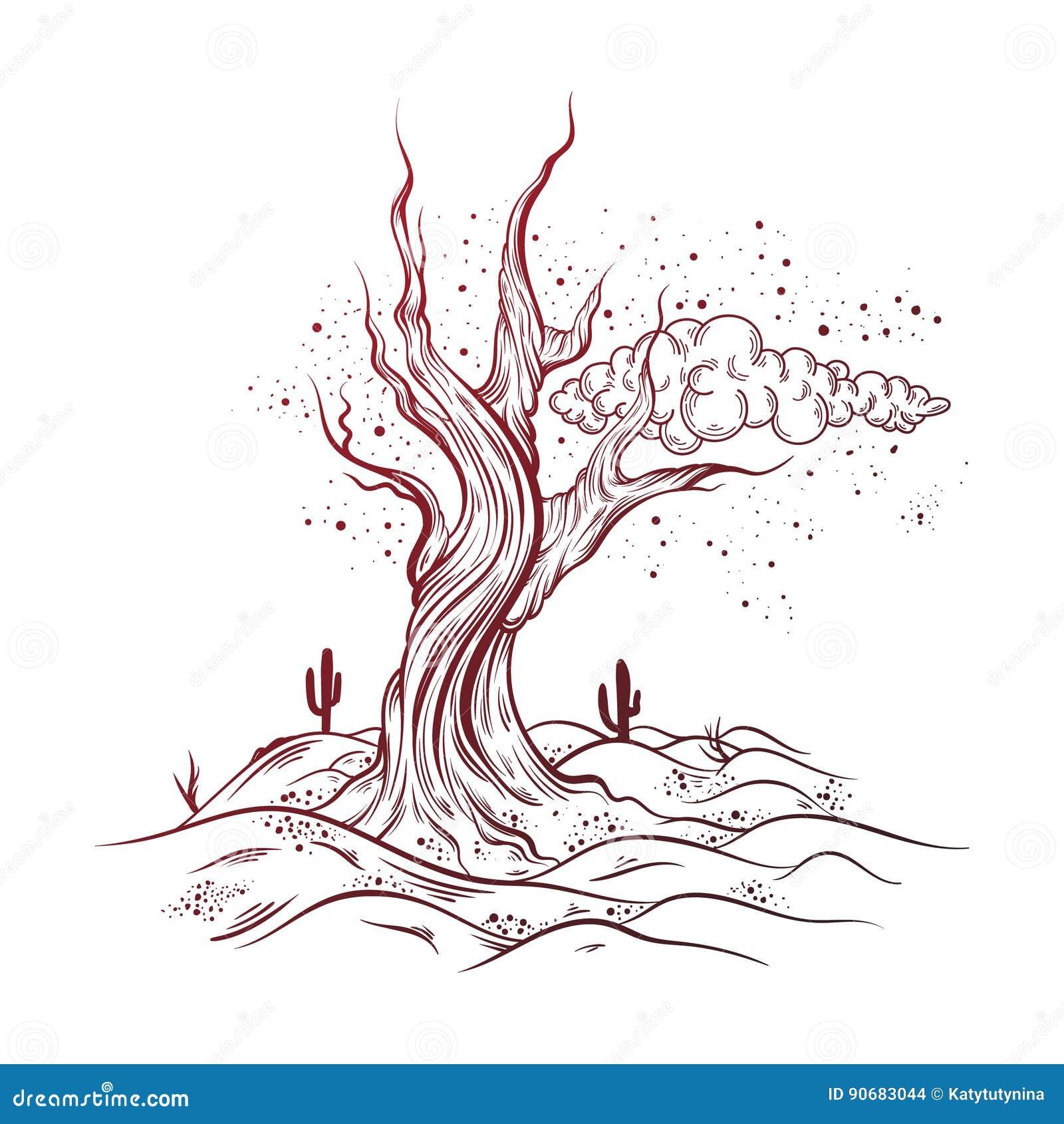 Wektorowa ręka kreślił ilustrację opustoszały krajobraz z nieżywym drzewem