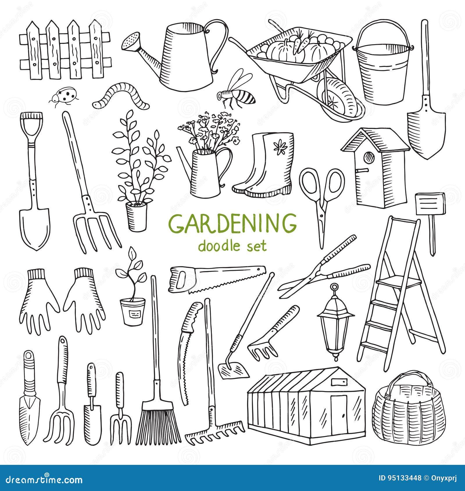 Wektorowa ręka rysować ilustracje ogrodnictwo Różni doodle elementy ustawiający dla ogrodowej pracy