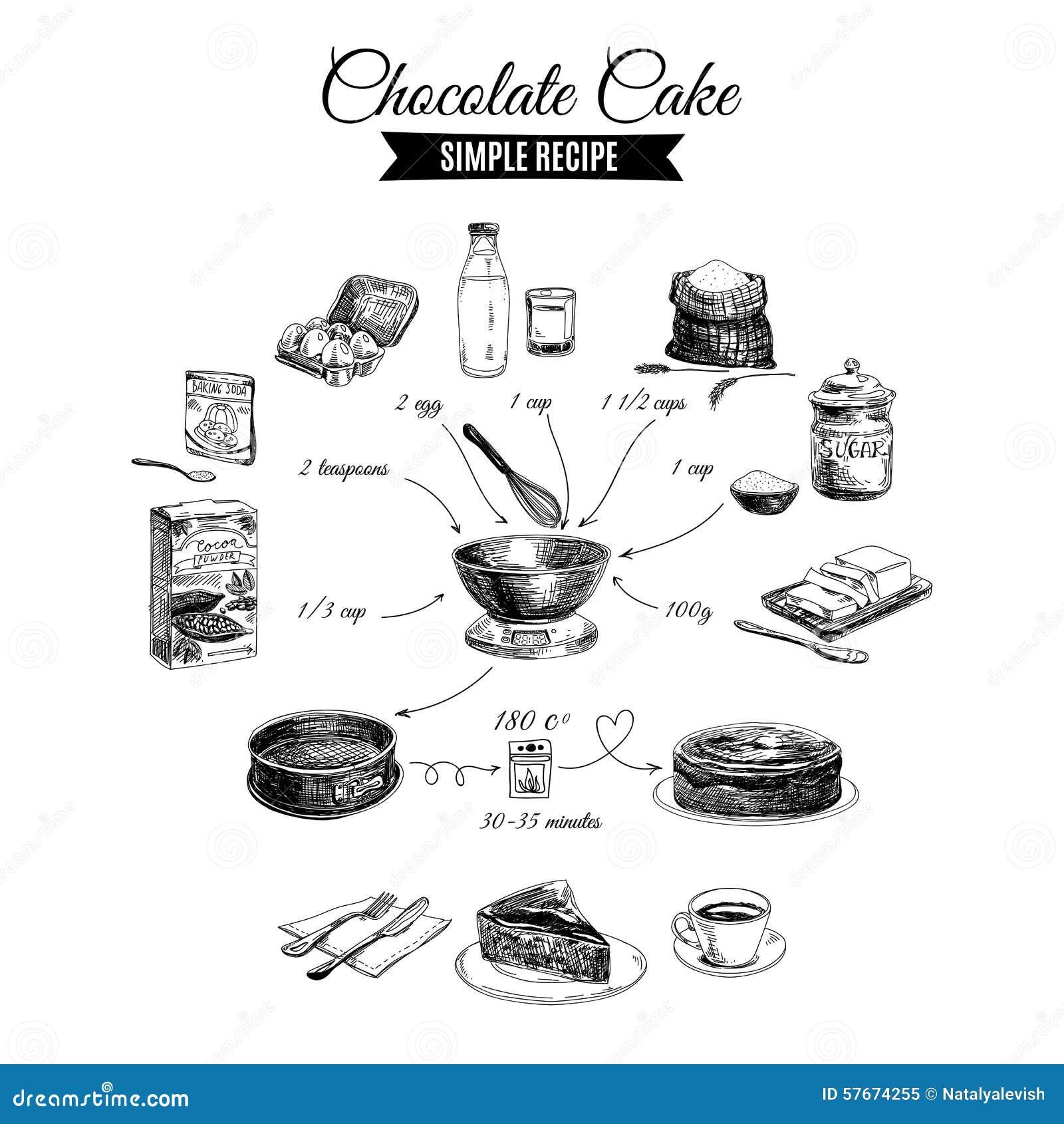 Wektorowa ręka rysująca czekoladowego torta ilustracja