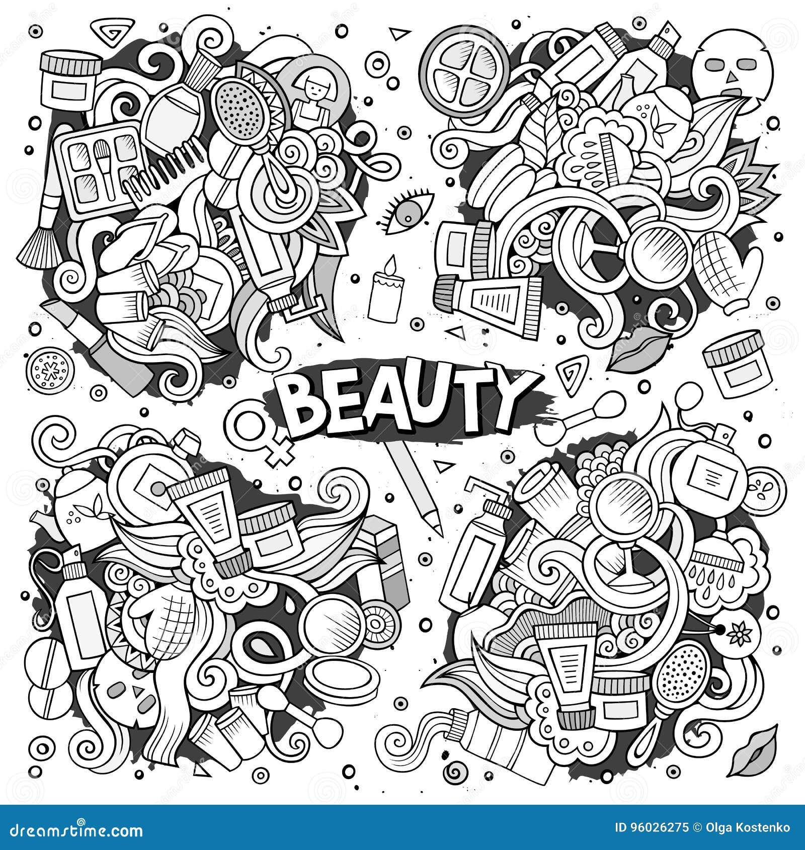 Wektorowa ręka rysująca doodle kreskówka ustawiająca przedmioty