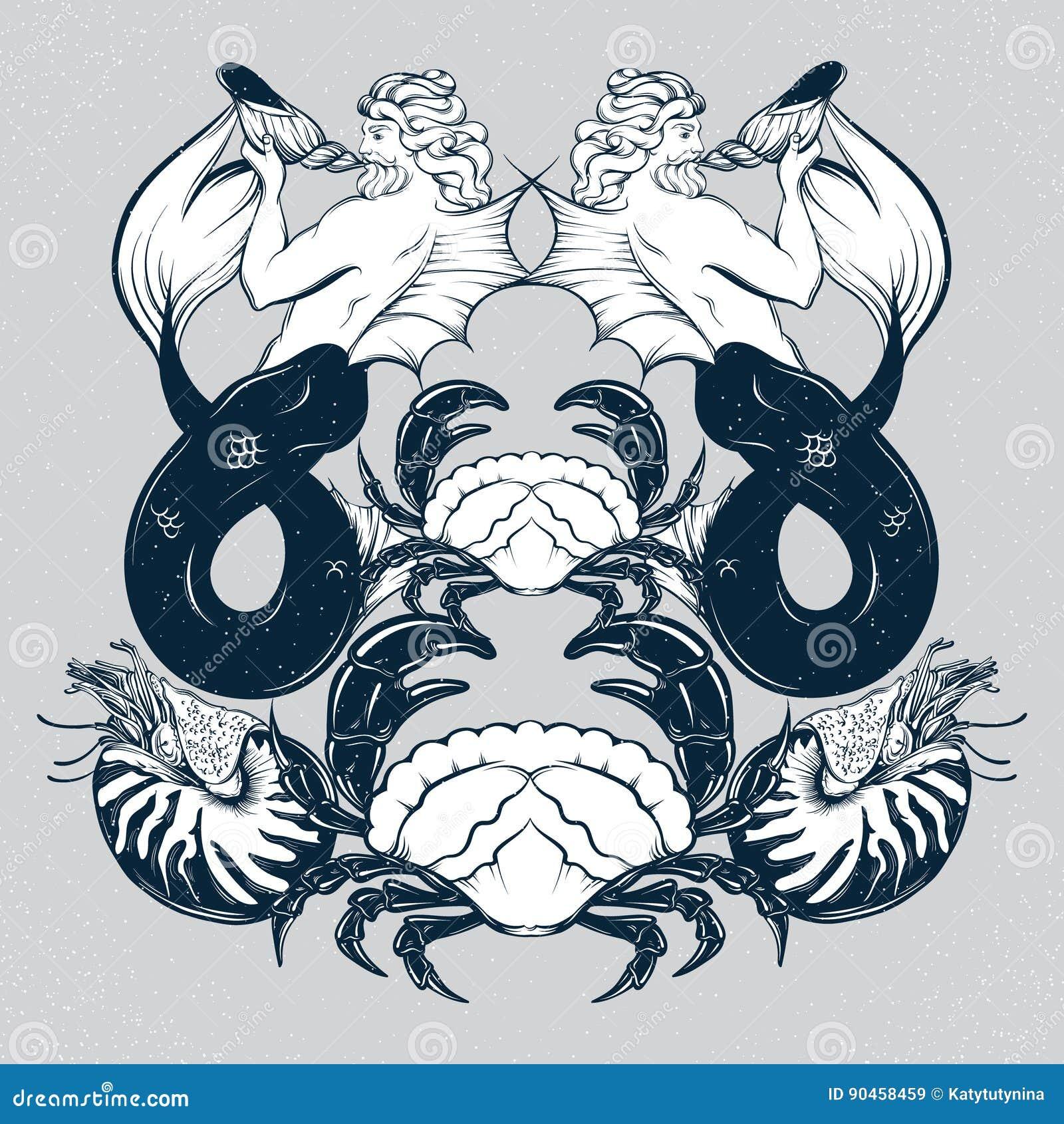 Wektorowa ręka rysująca ilustracja Triton, mollusk łodzik, krab