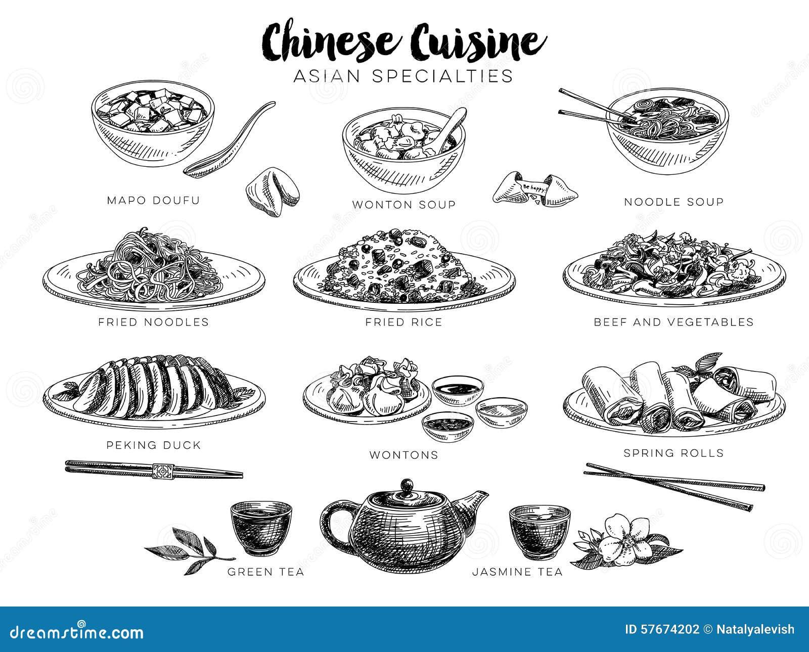 Wektorowa ręka rysująca ilustracja z chińskim jedzeniem