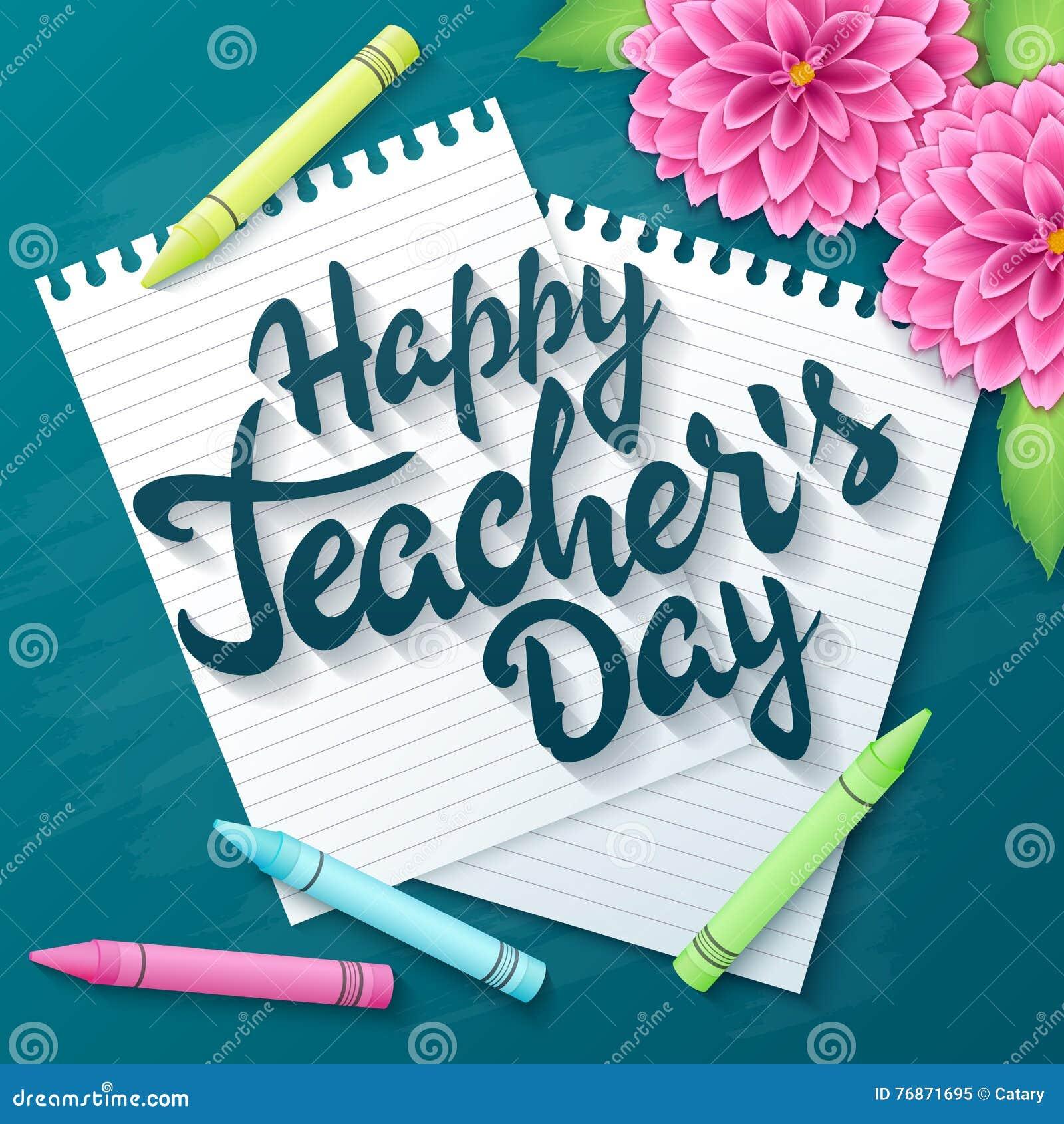 Wektorowa ręka rysująca nauczyciela dnia literowania powitań etykietka z realistycznymi papierowymi stronami, ołówki i dalii flo