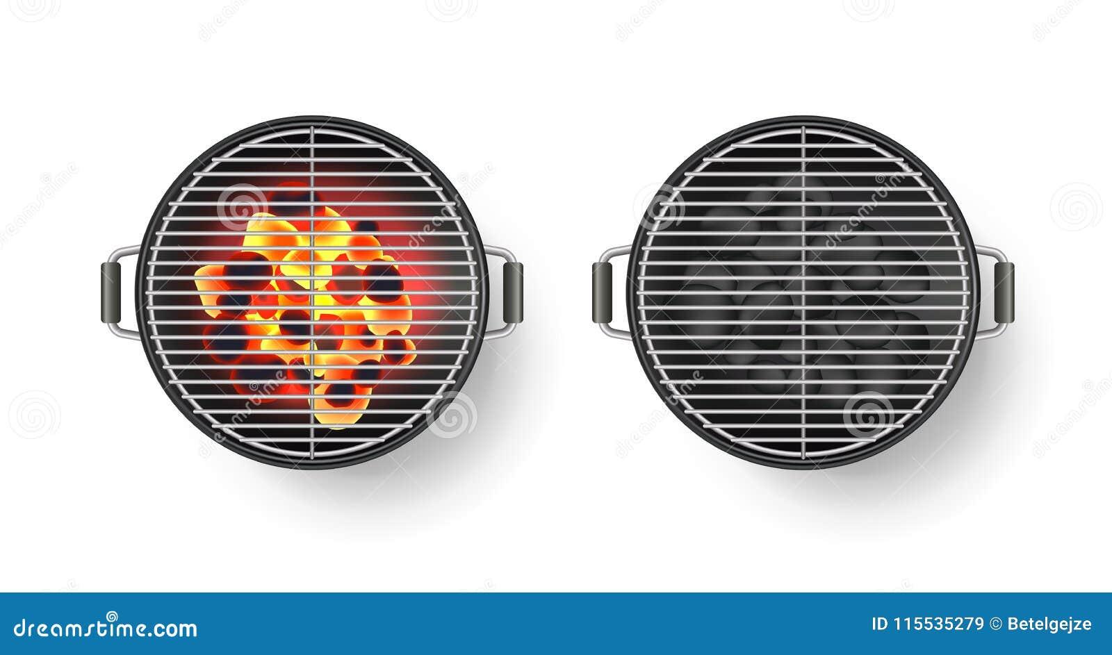 Wektorowa realistyczna 3d ilustracja round pusty grilla grill z gorącym węglem, odosobniona na białym tle BBQ odgórny widok