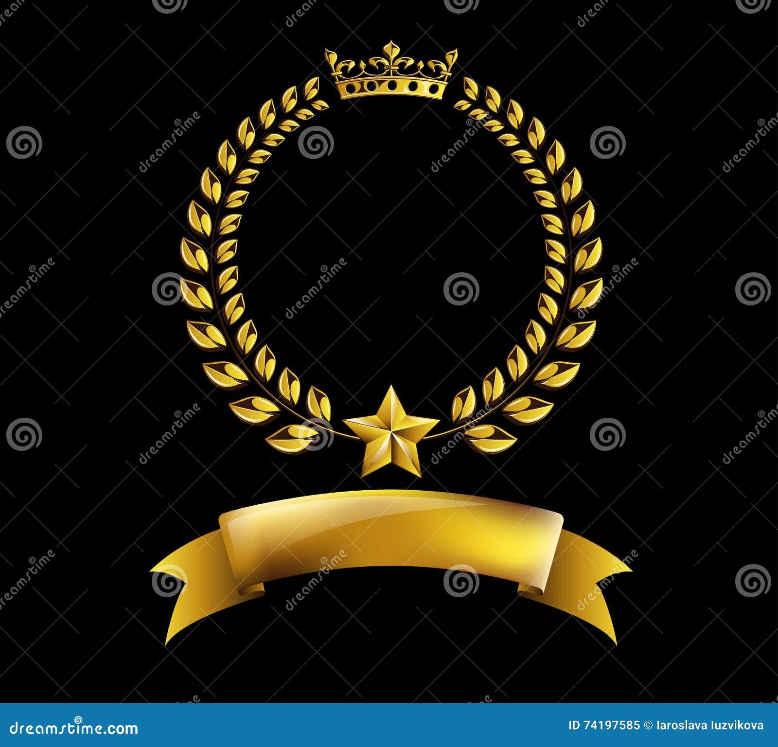 Wektorowa round złota laurowa wianek nagrody rama na czarnym tle