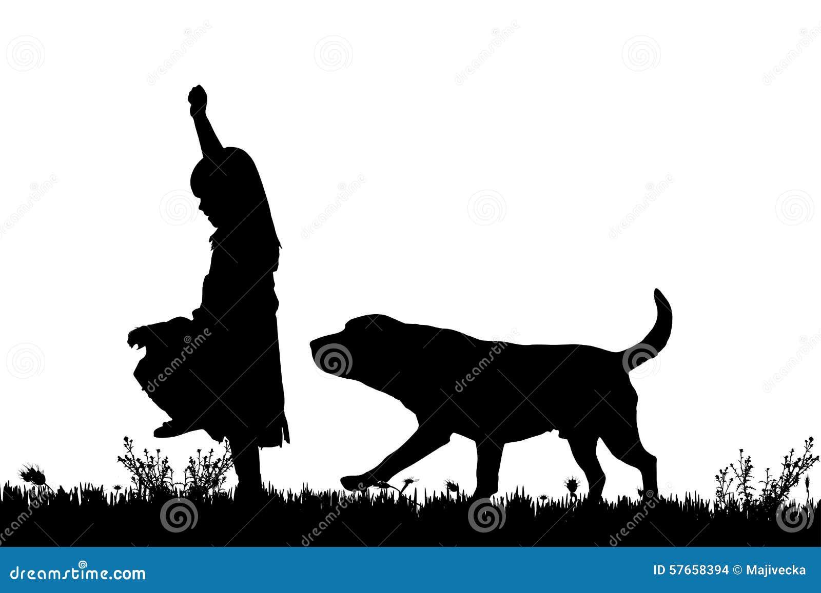 Wektorowa sylwetka dziewczyna z psem