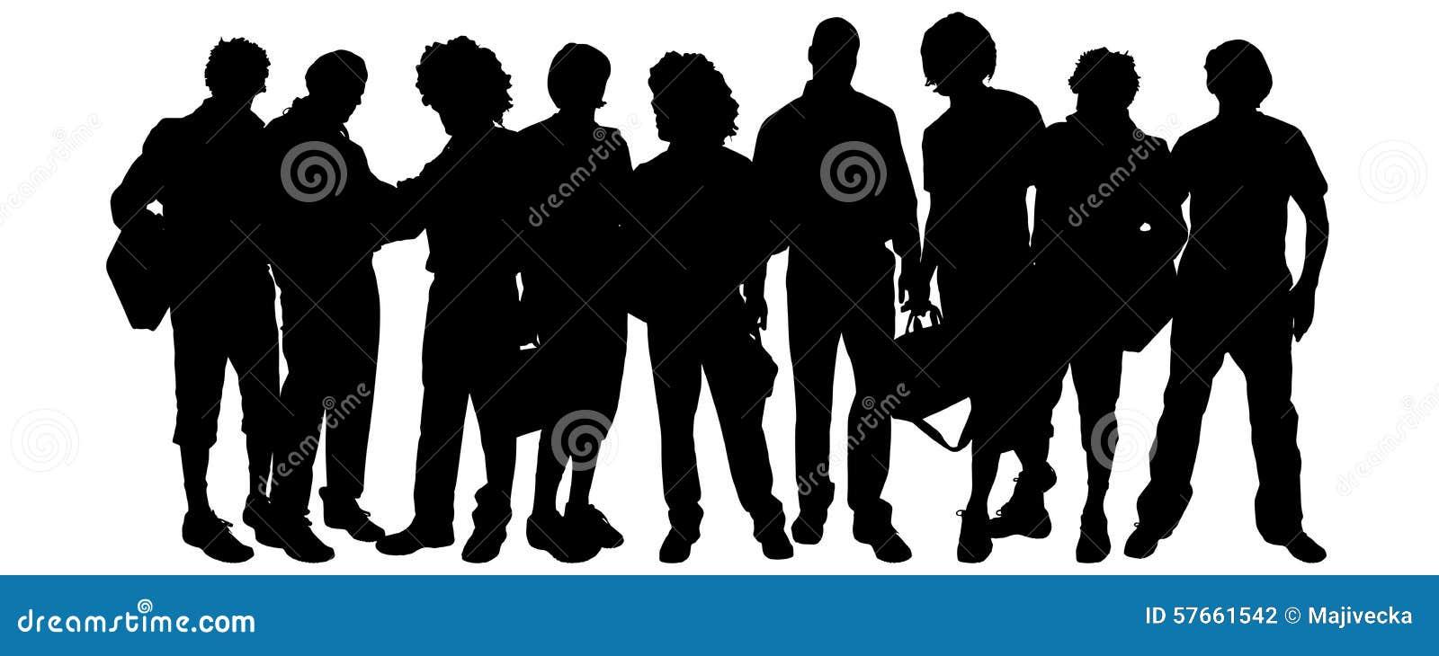 Wektorowa sylwetka grupa ludzi