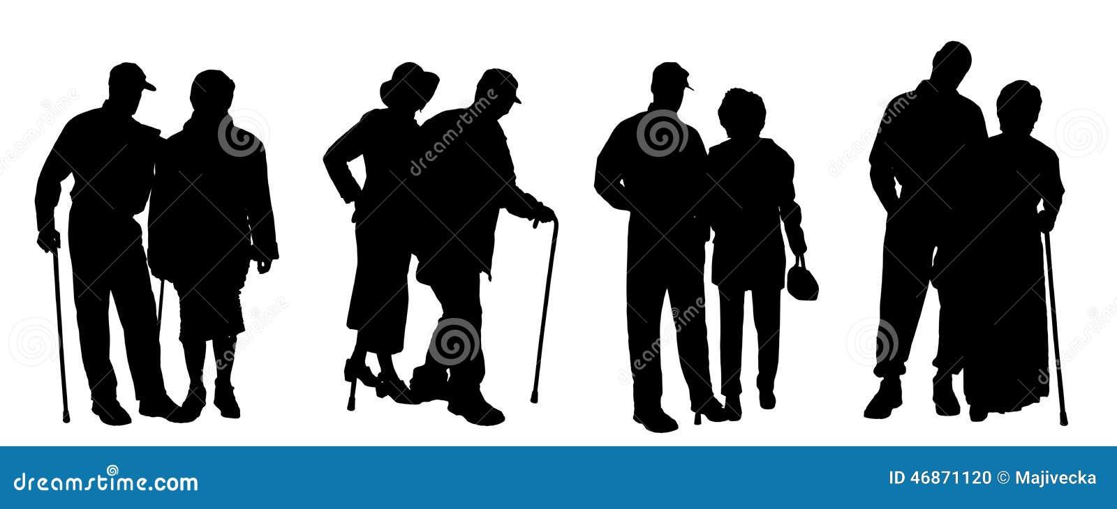 Wektorowa sylwetka starzy ludzie