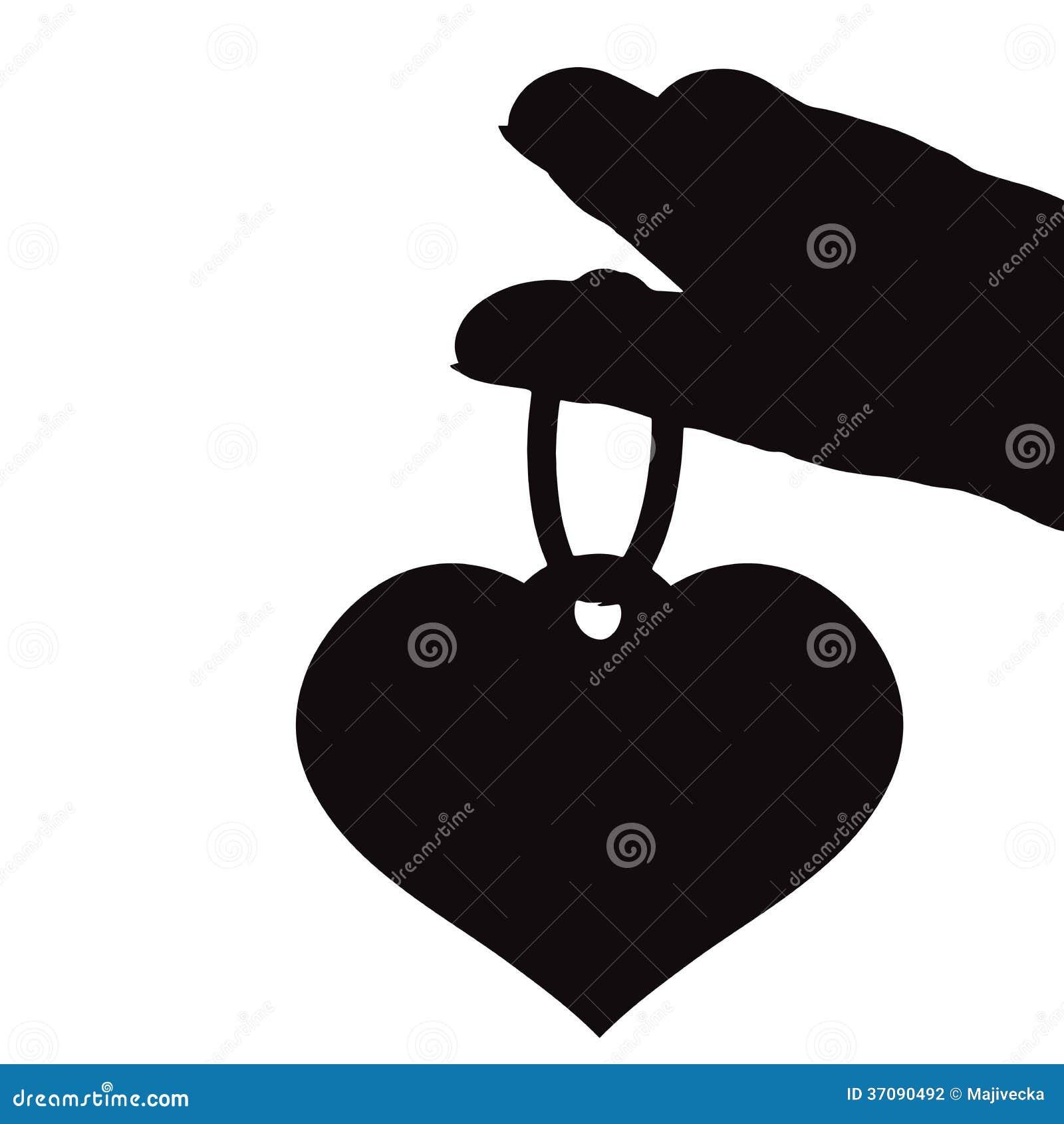 Download Wektorowa Sylwetki Ilustracja Serce. Ilustracja Wektor - Ilustracja złożonej z potomstwa, breloczek: 37090492
