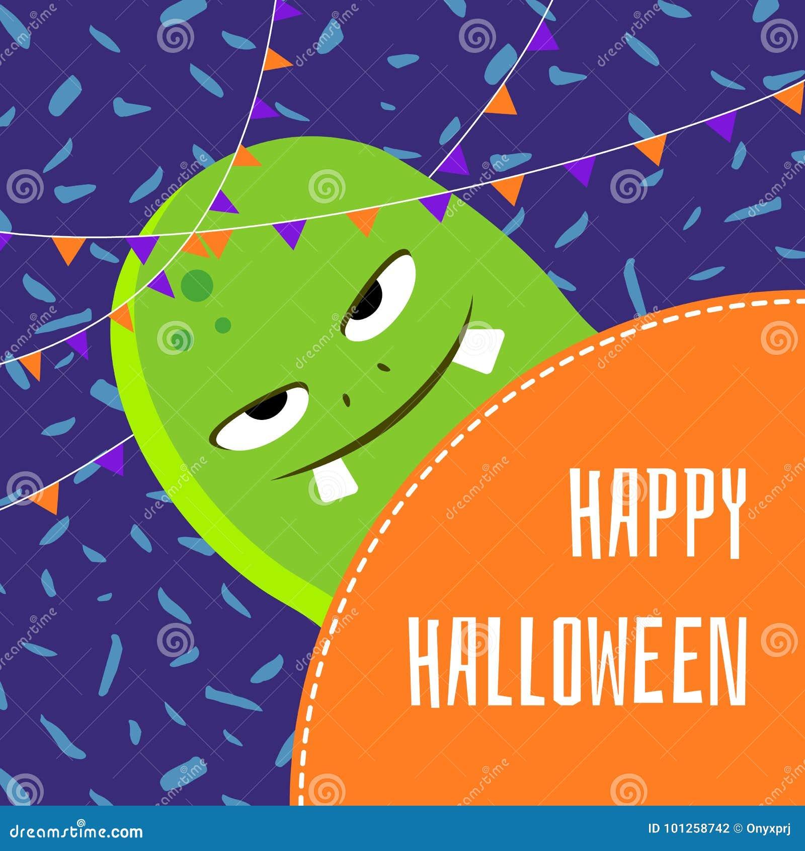 Wektorowa szczęśliwa Halloween kreskówki potwora śliczna ilustracja