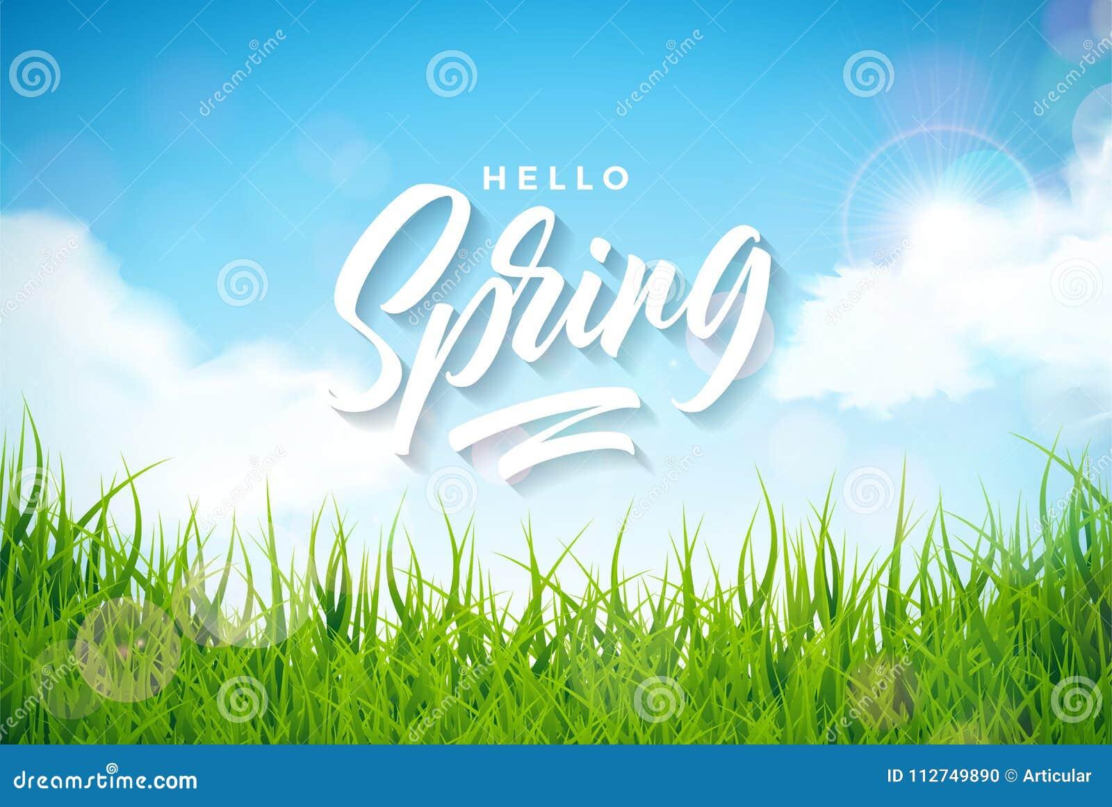 Wektorowa wiosny ilustracja z zieloną trawą na natura krajobrazu tle Kwiecistego projekta szablon z typografią