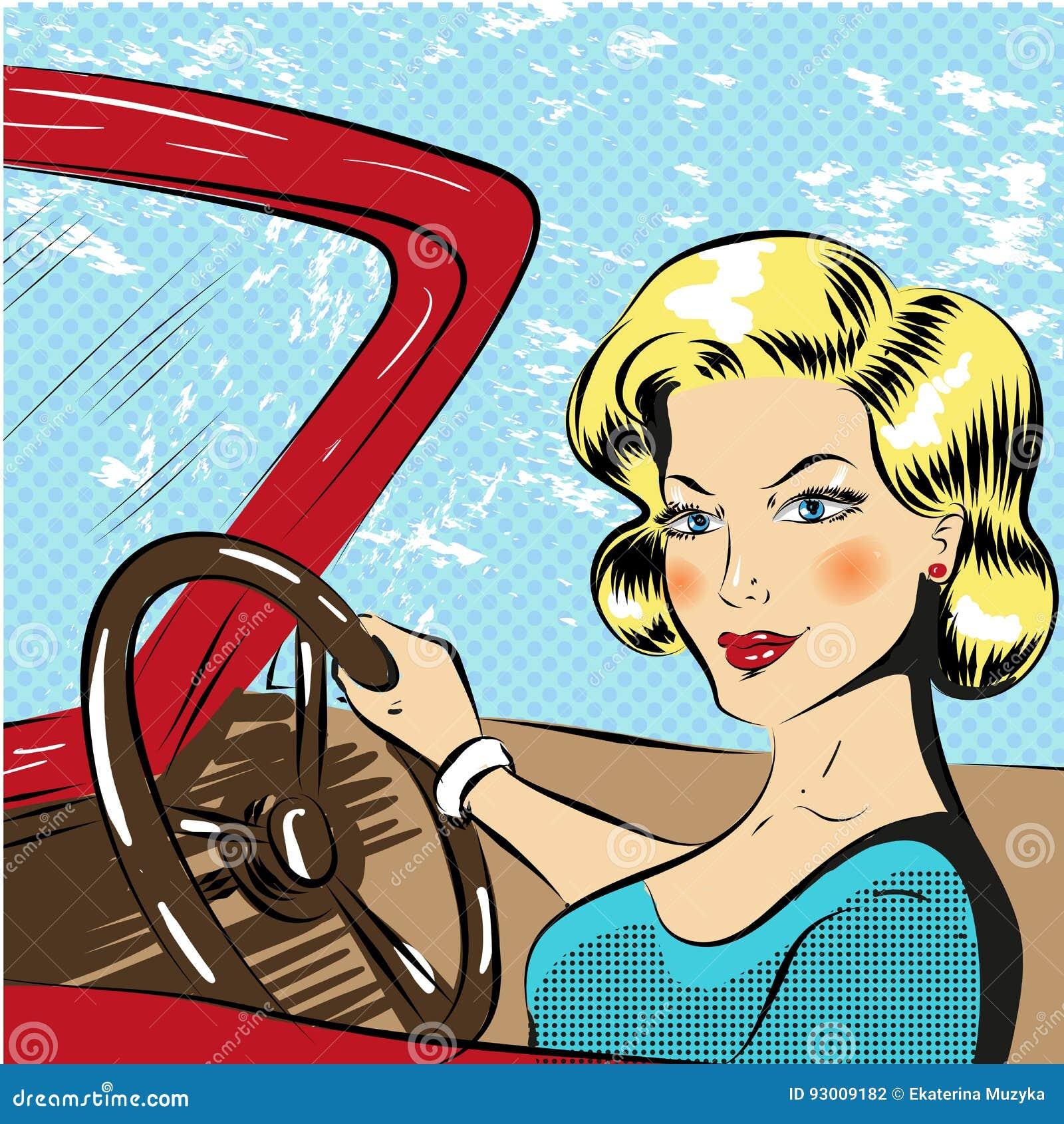 Wektorowa wystrzał sztuki ilustracja kobieta napędowy czerwony kabriolet