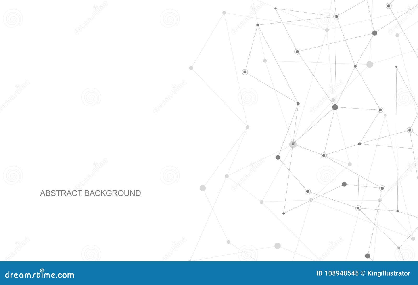 Wektorowe łączy kropki i linie Globalnej sieci związek Geometryczny związany abstrakcjonistyczny tło