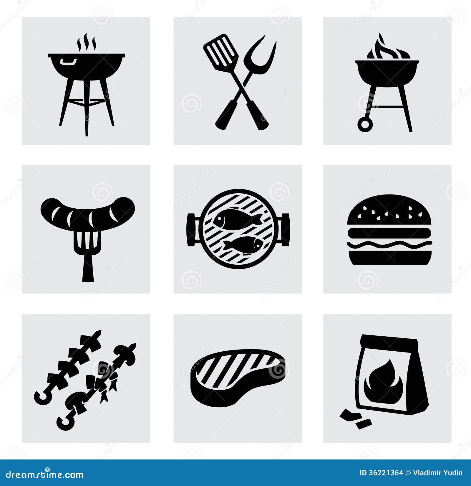 Wektorowe czarne grill ikony ustawiać na szarość