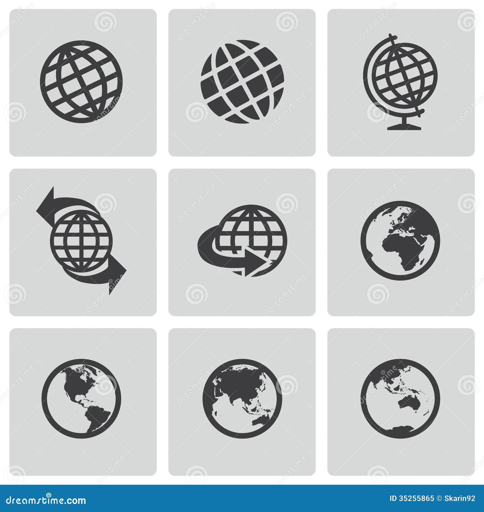 Wektorowe czarne kul ziemskich ikony ustawiać