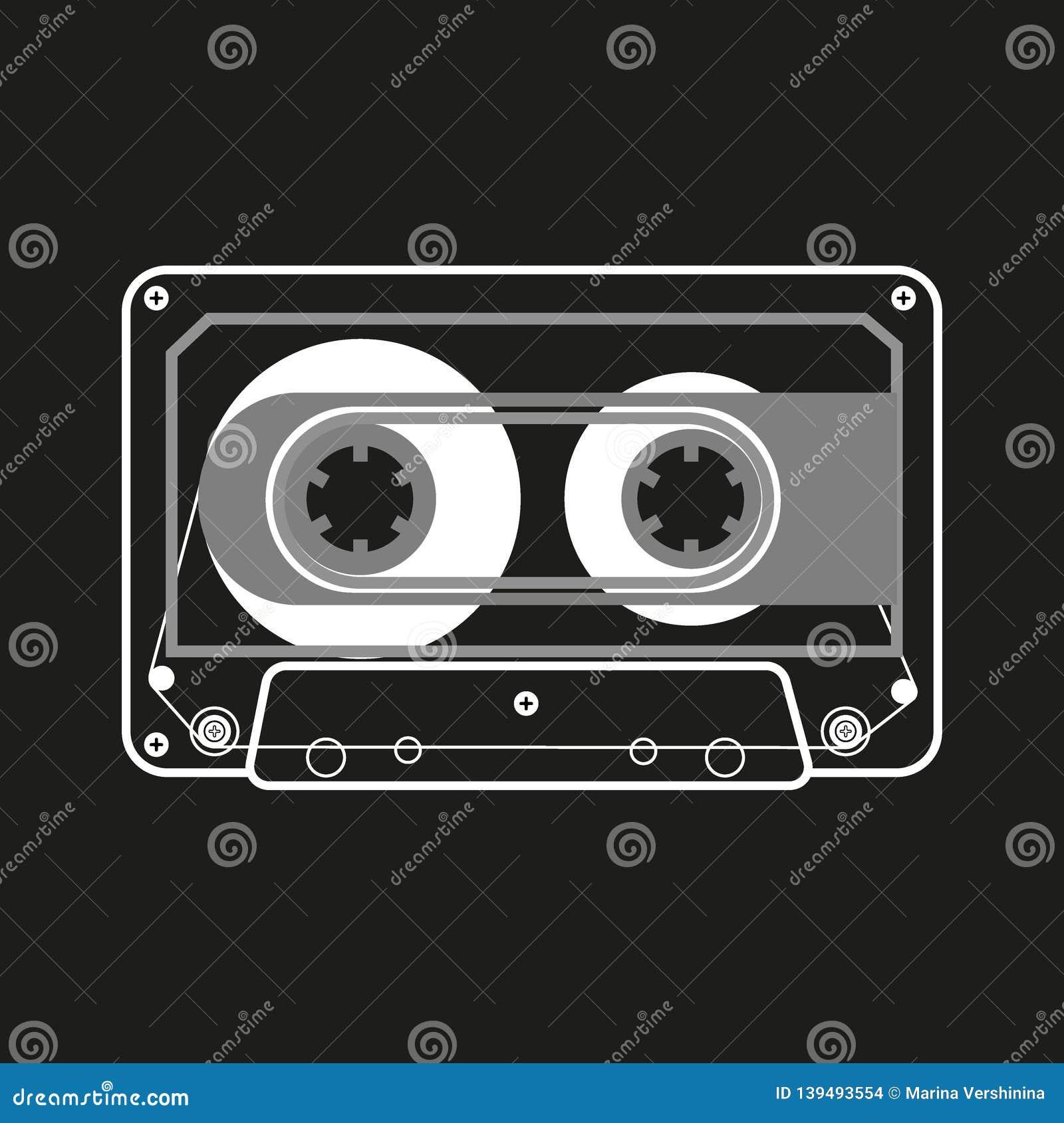 Wektorowe czarny i biały ilustracyjne ścisłe taśm kasety na czarnym tle