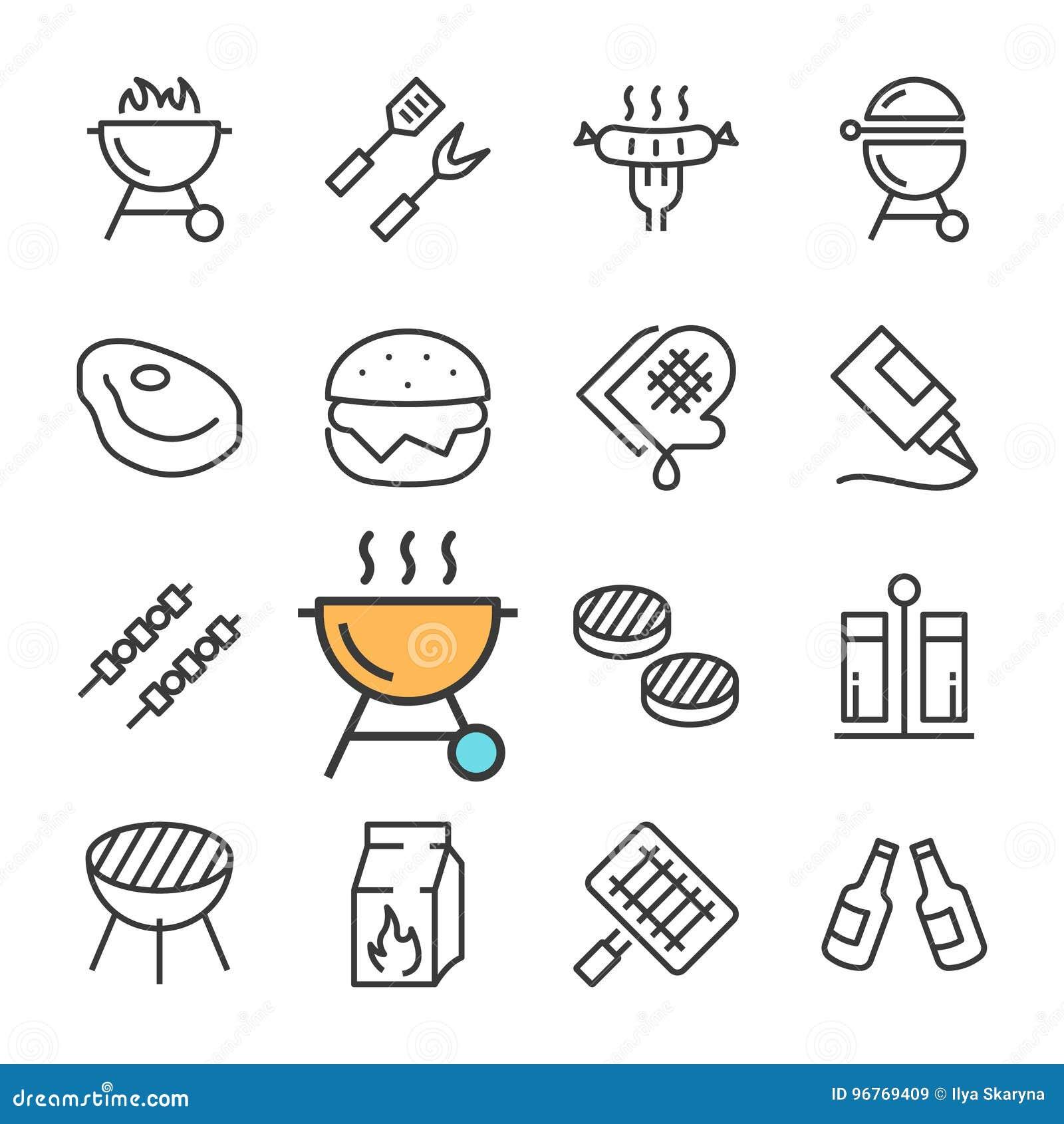 Wektorowe czerni linii grilla ikony ustawiać Zawiera taki ikony jak BBQ, grill, piwo, mięso