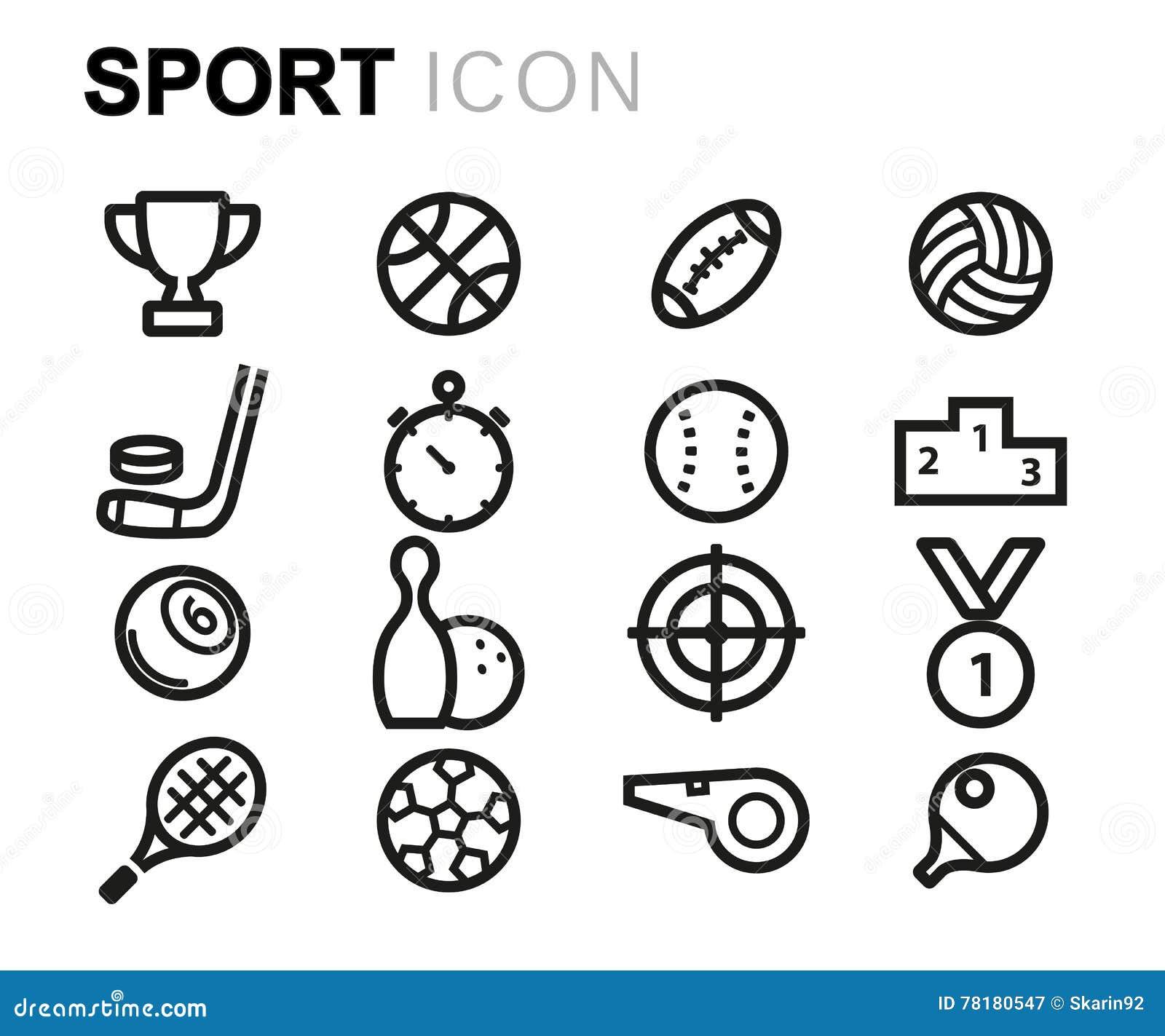 Wektorowe czerni linii sporta ikony ustawiać