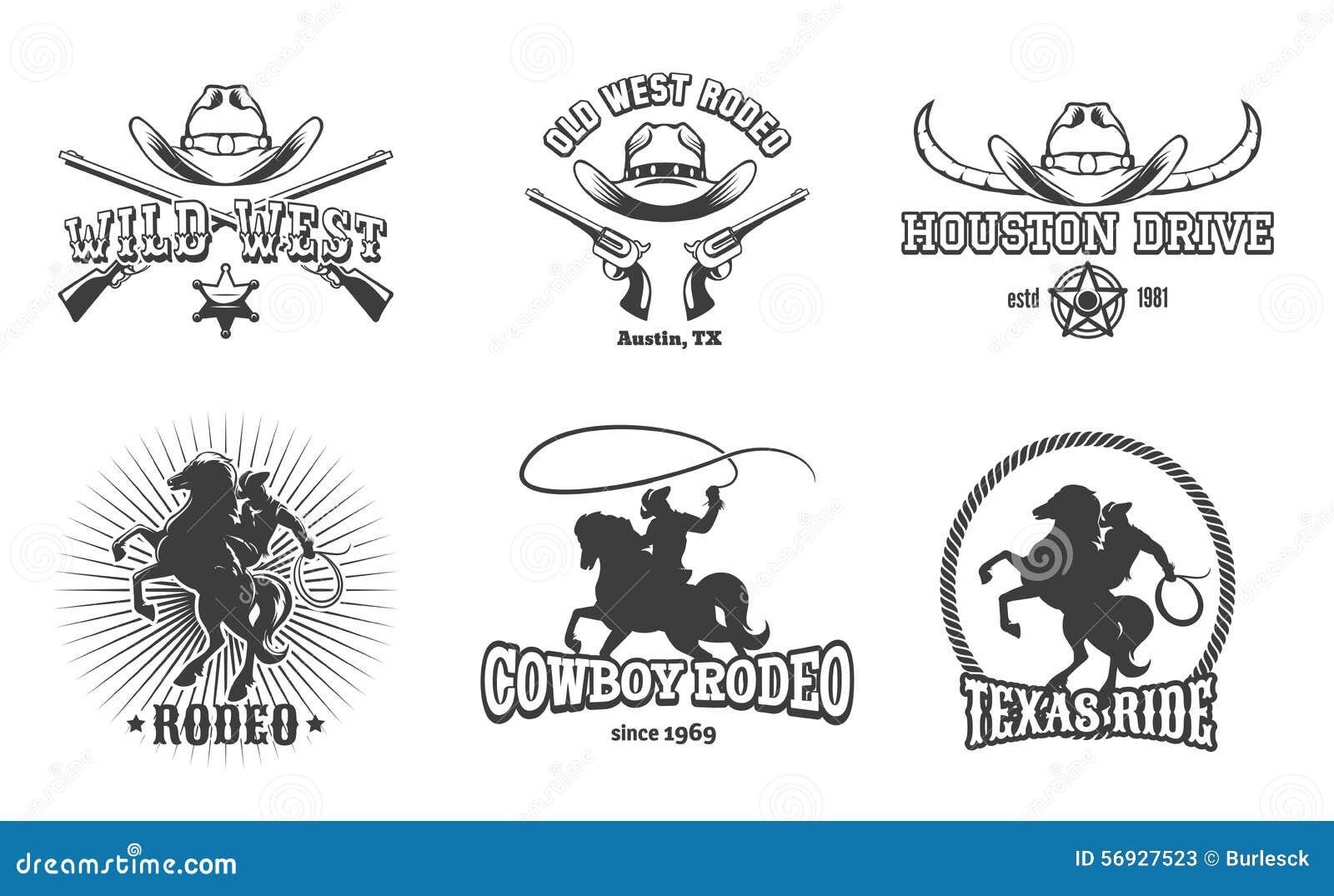 Wektorowe Dzikie zachodu i rodeo etykietki