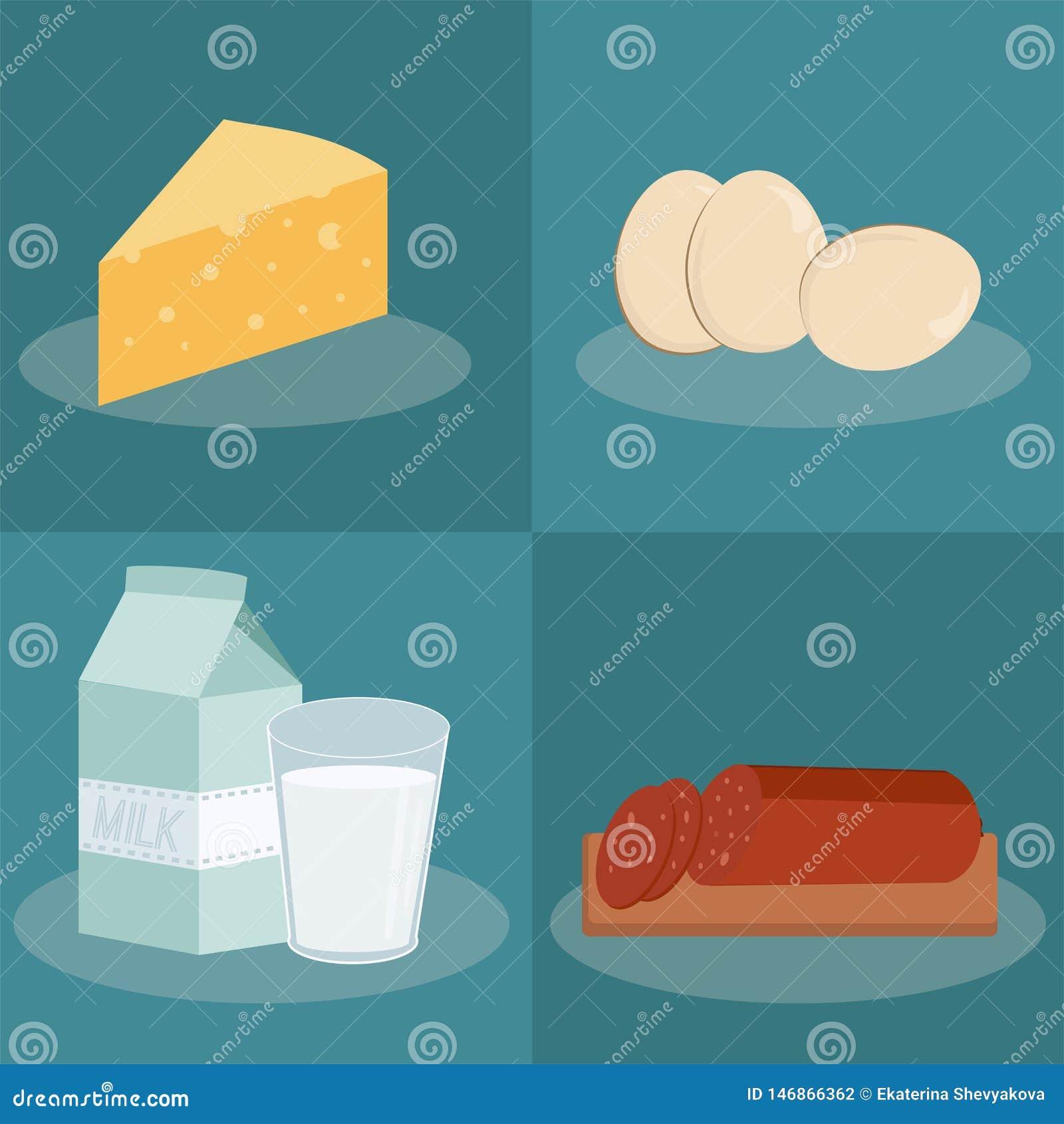 Wektorowe flek ikony z jedzeniem