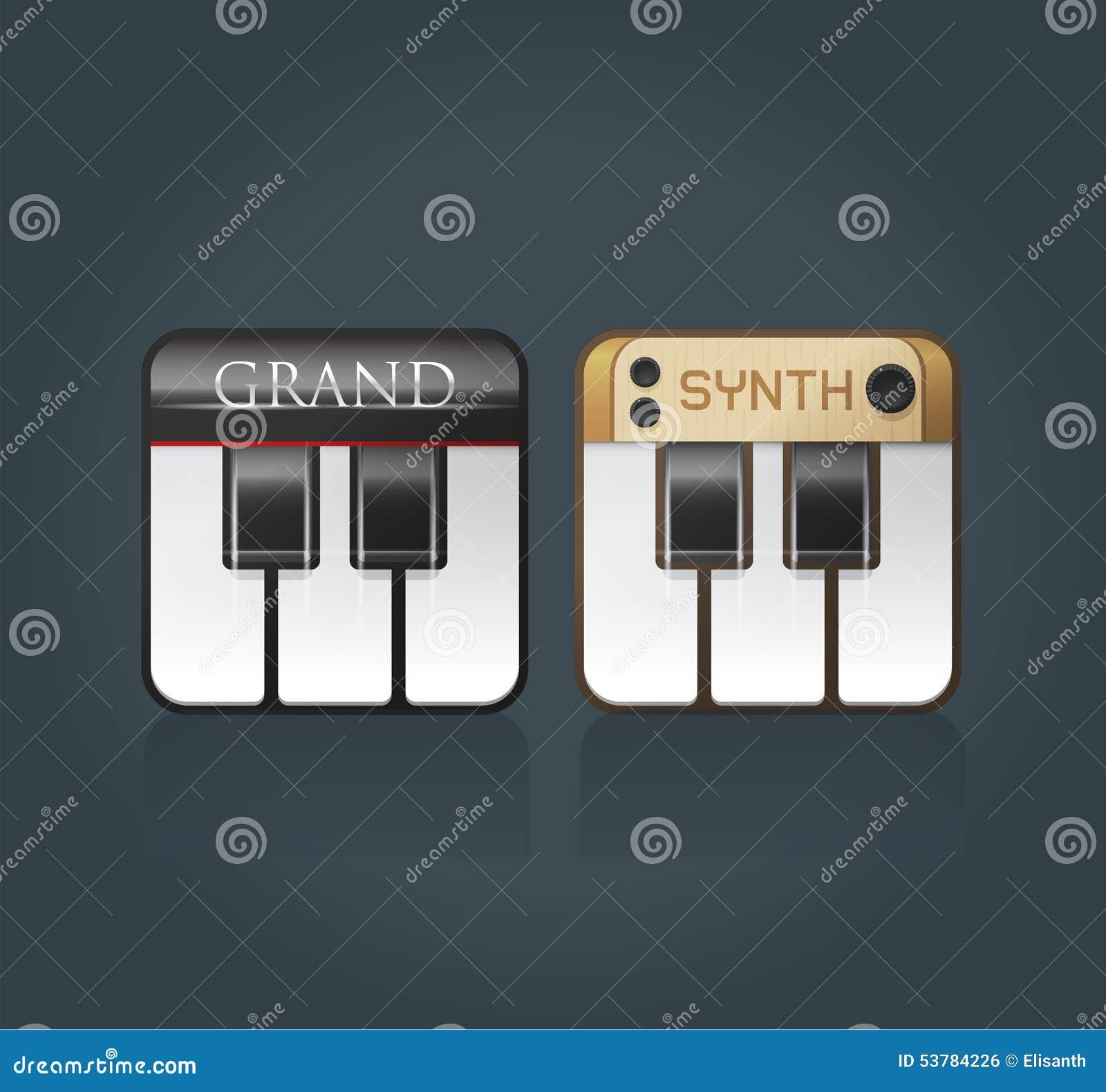 Wektorowe fortepianowe ikony dla muzycznego oprogramowania