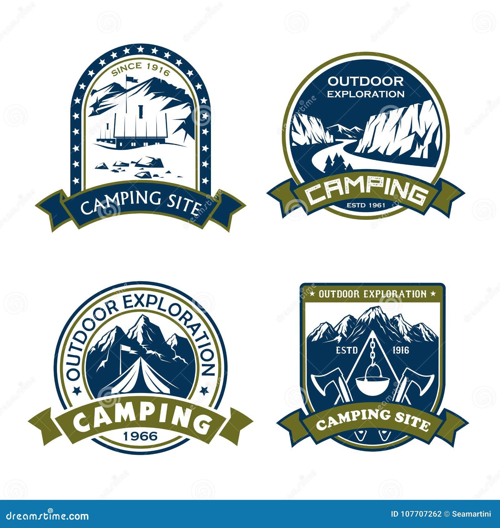 Wektorowe ikony dla campingowego miejsca plenerowej przygody
