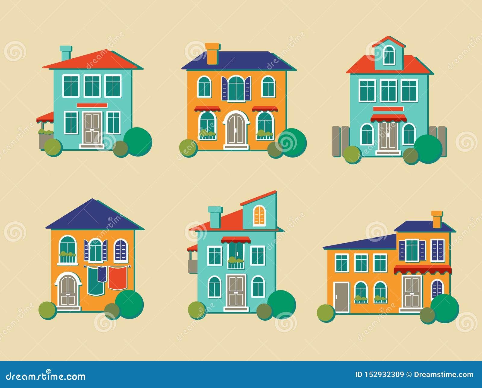 Wektorowe ikony domy w mieszkanie stylu