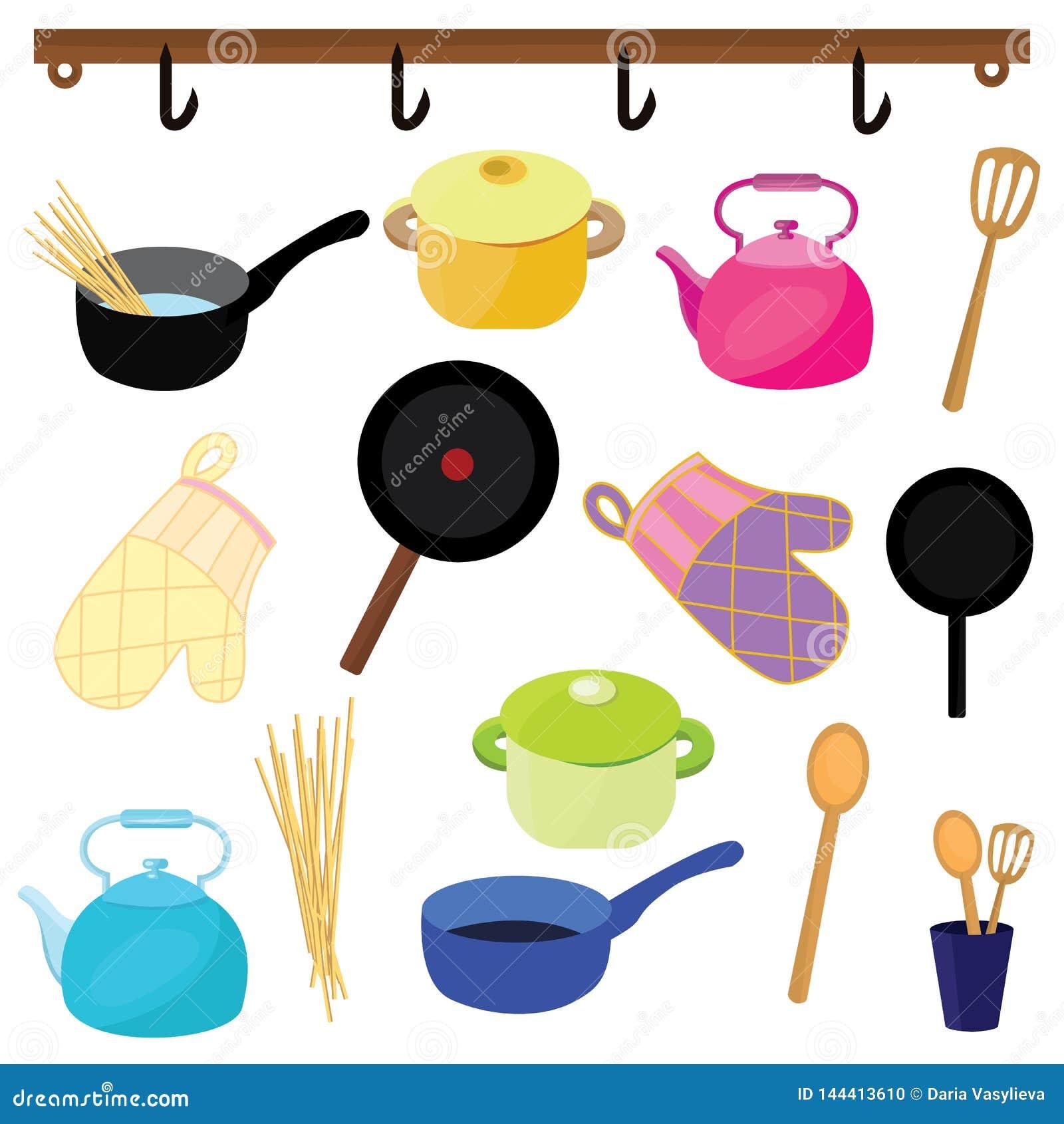 Wektorowe ikony kuchenni naczynia różni kolory