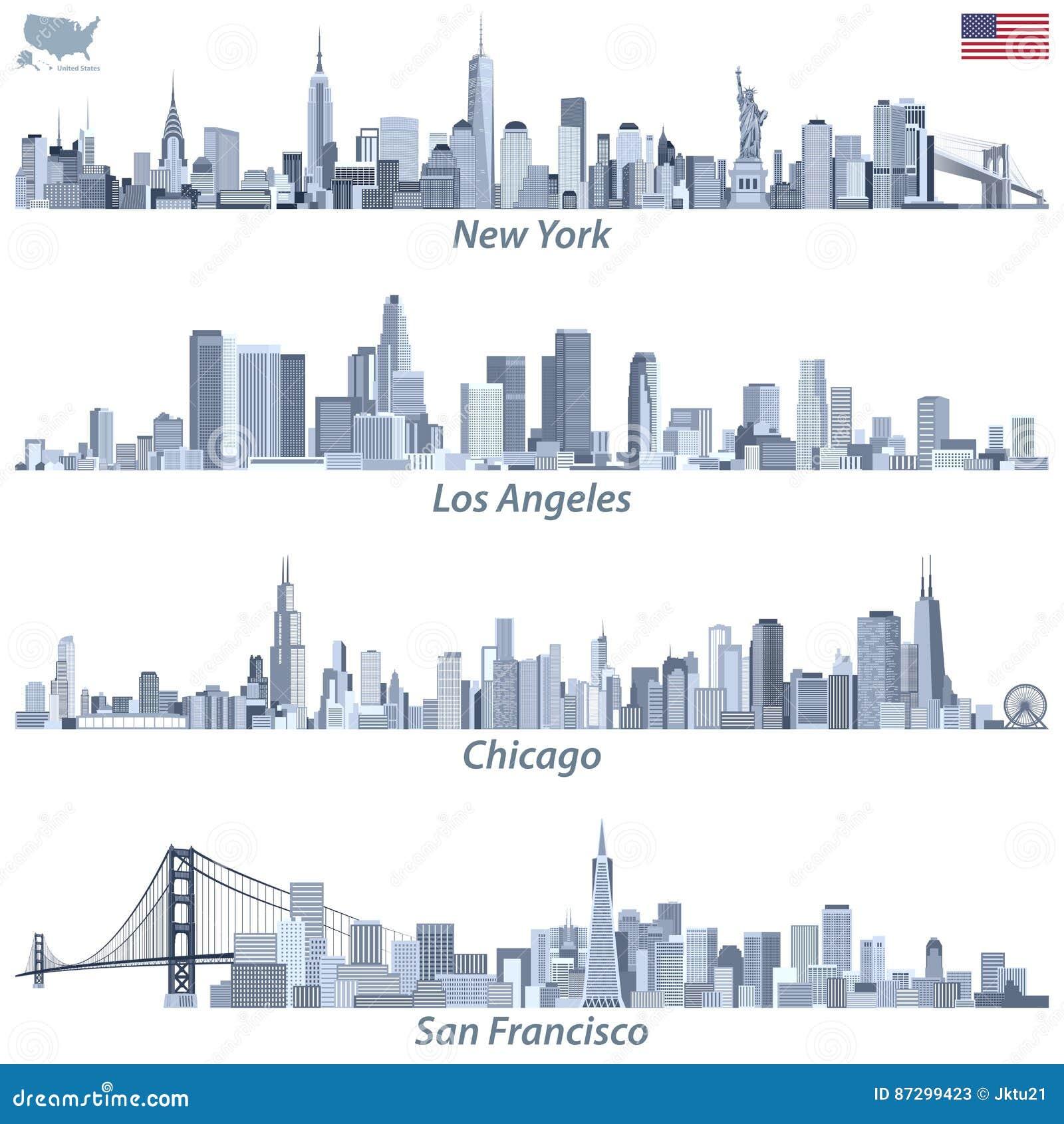 Wektorowe ilustracje Stany Zjednoczone miasta linie horyzontu w odcieniach błękitna kolor paleta z mapą i flaga Stany Zjednoczone