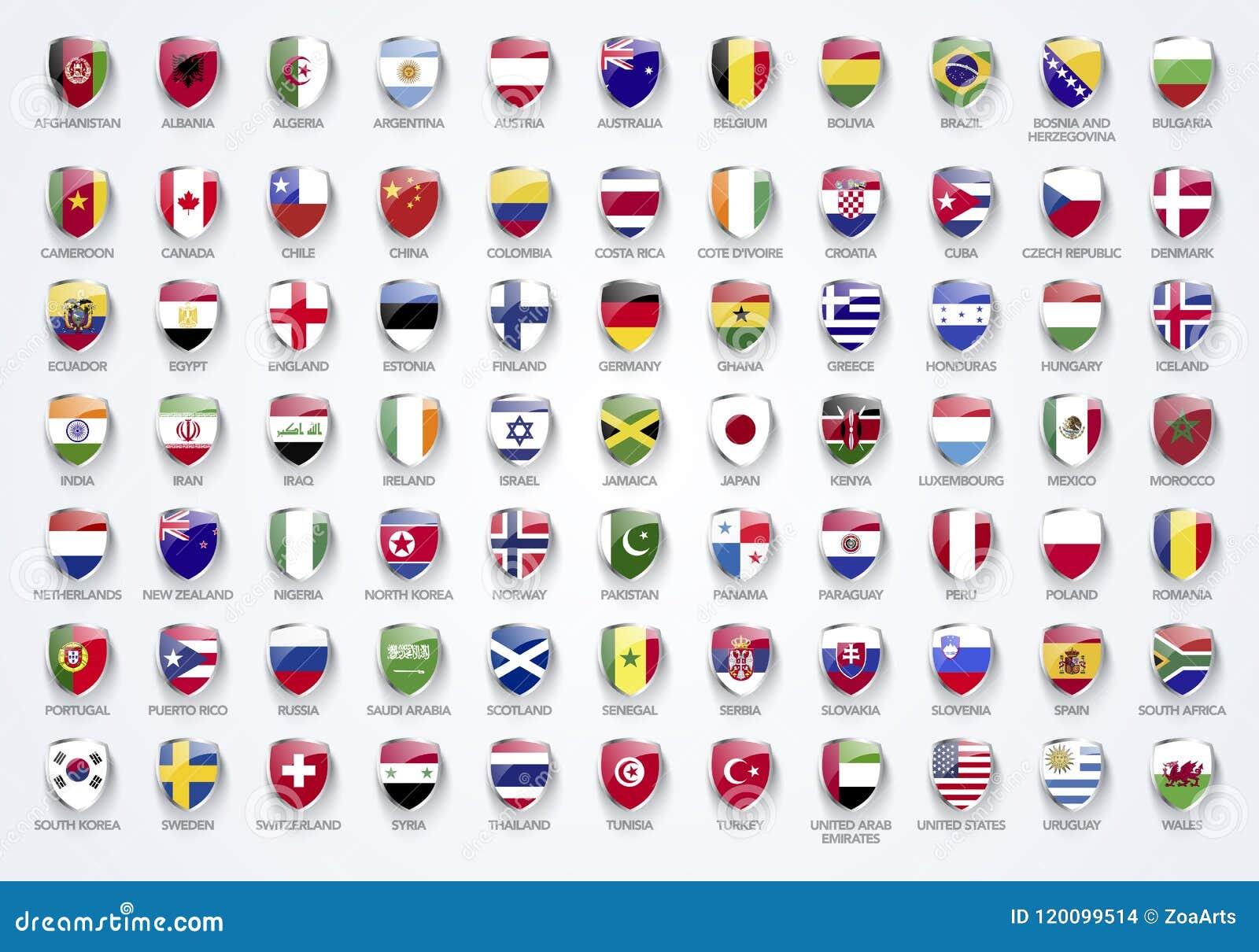 Wektorowe Ilustracyjne flaga świat w osłonie tworzą z imionami