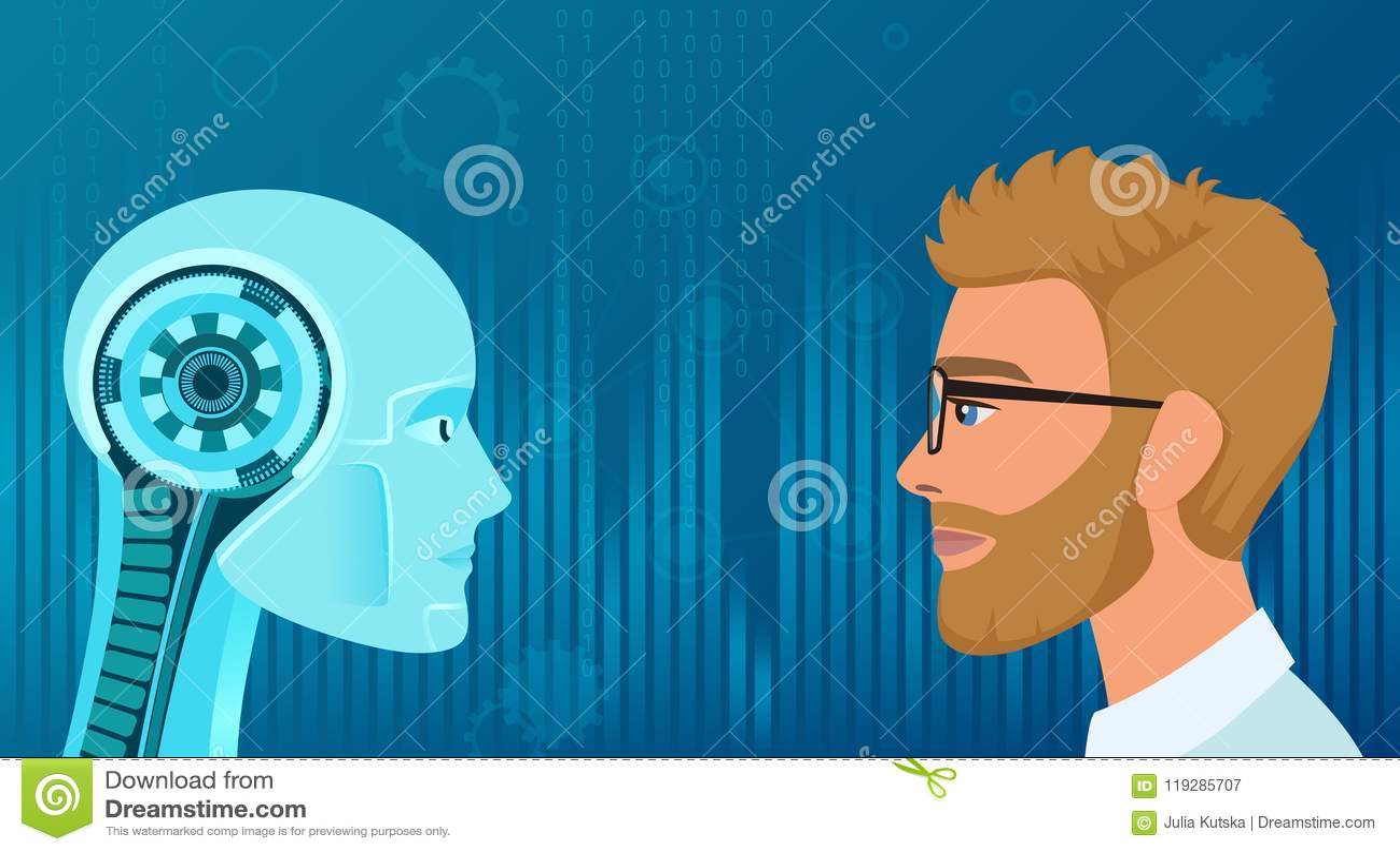Wektorowe istoty ludzkie vs robot opozycja Pojęcie biznes i przyszłości pracy ilustracja