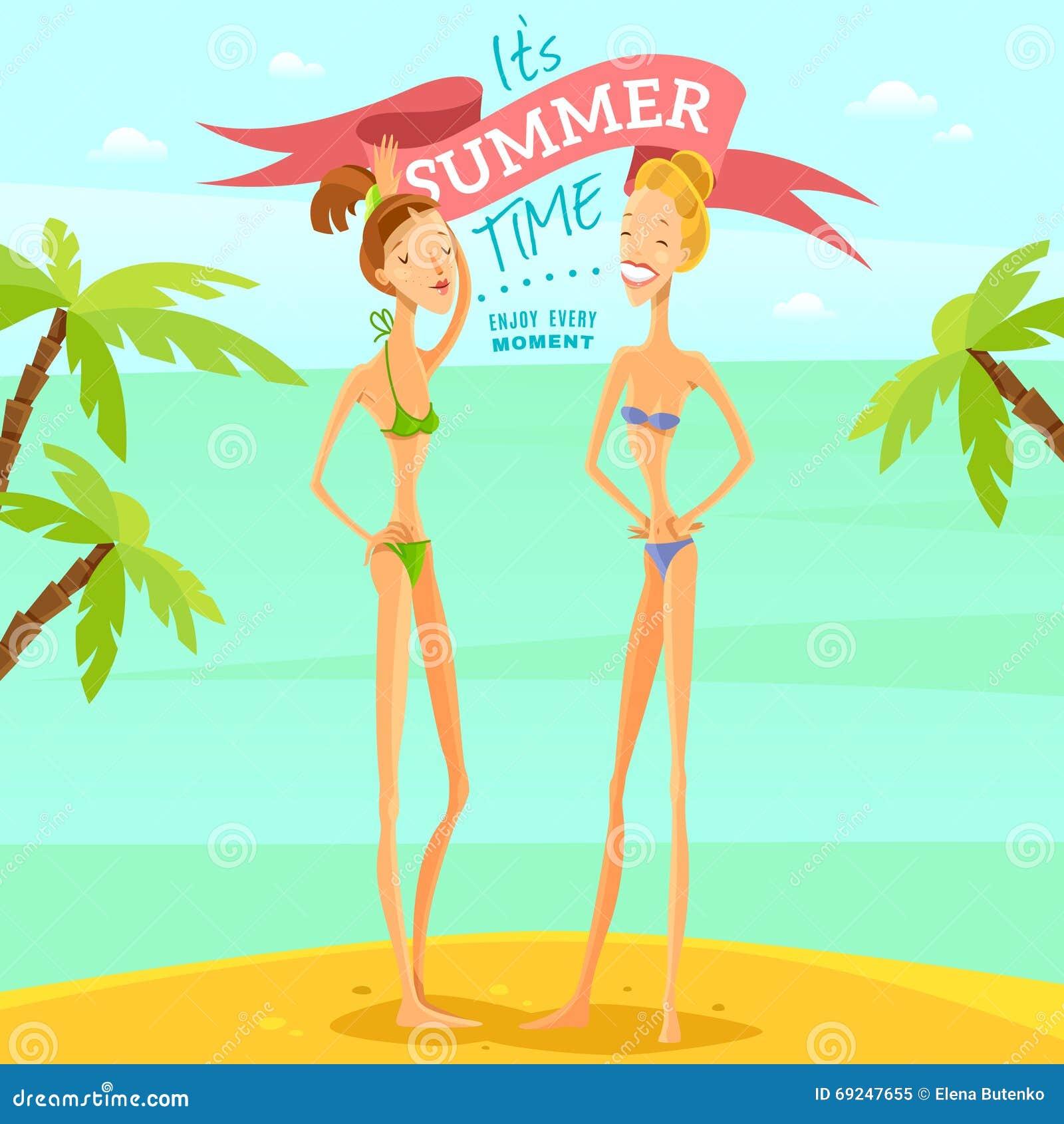 Wektorowe lato dziewczyny