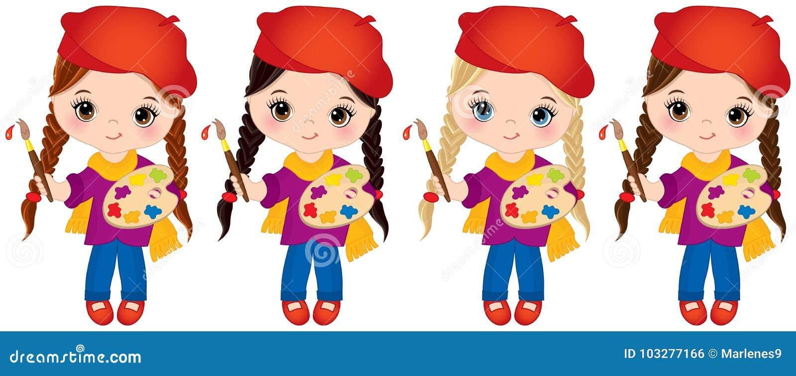 Wektorowe małe dziewczynki z palety i farby muśnięciami Wektorowi Mali artyści