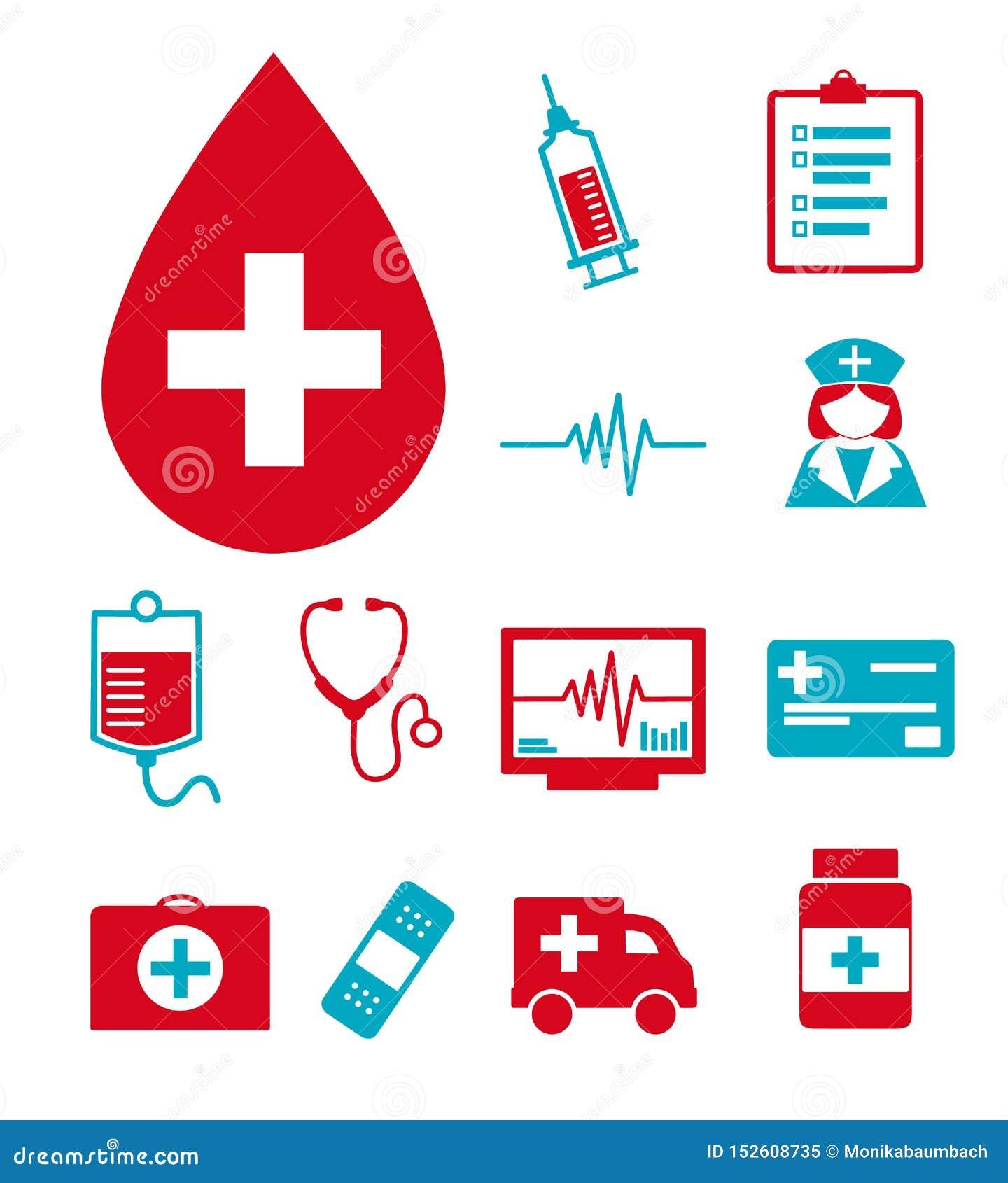 Wektorowe medyczne ikony ustawiać dla tworzyć infographics odnosić sie zdrowie i medycyna, jak krwi kropla, schowek, pielęgniarka