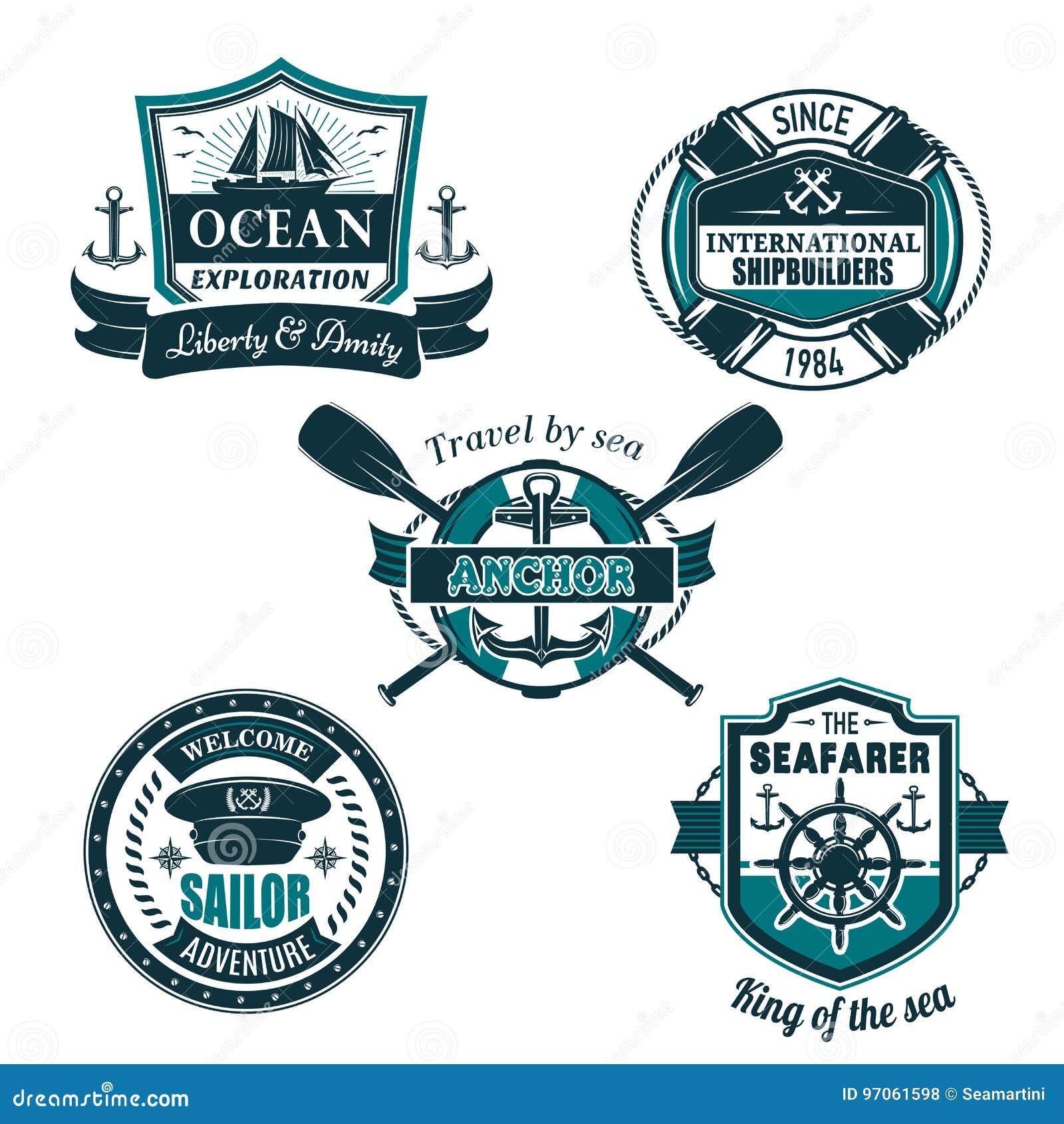 Wektorowe nautyczne heraldyczne ikony żeglarza żeglowanie