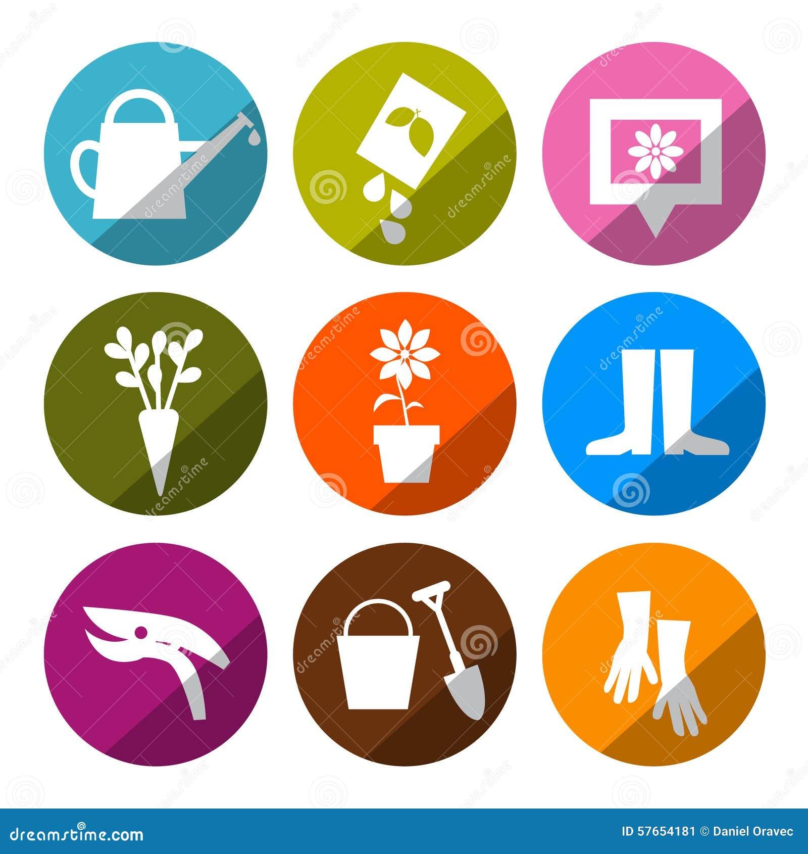 Wektorowe ogrodnictwo ikony - narzędzia Ustawiający