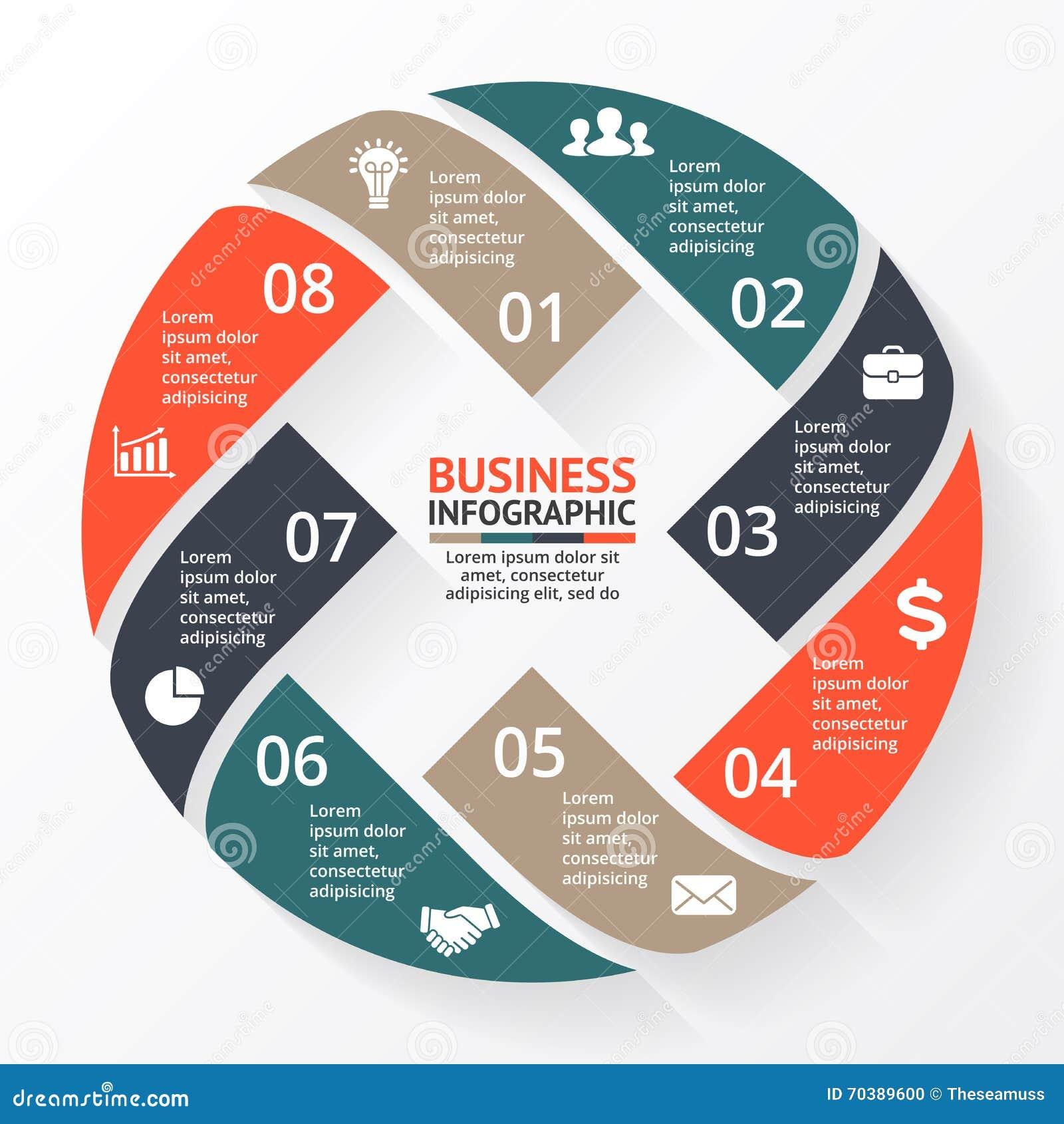 Wektorowe okrąg strzała X infographic, diagram, wykres, prezentacja, mapa Biznesowego cyklu pojęcie z 8 opcjami, części