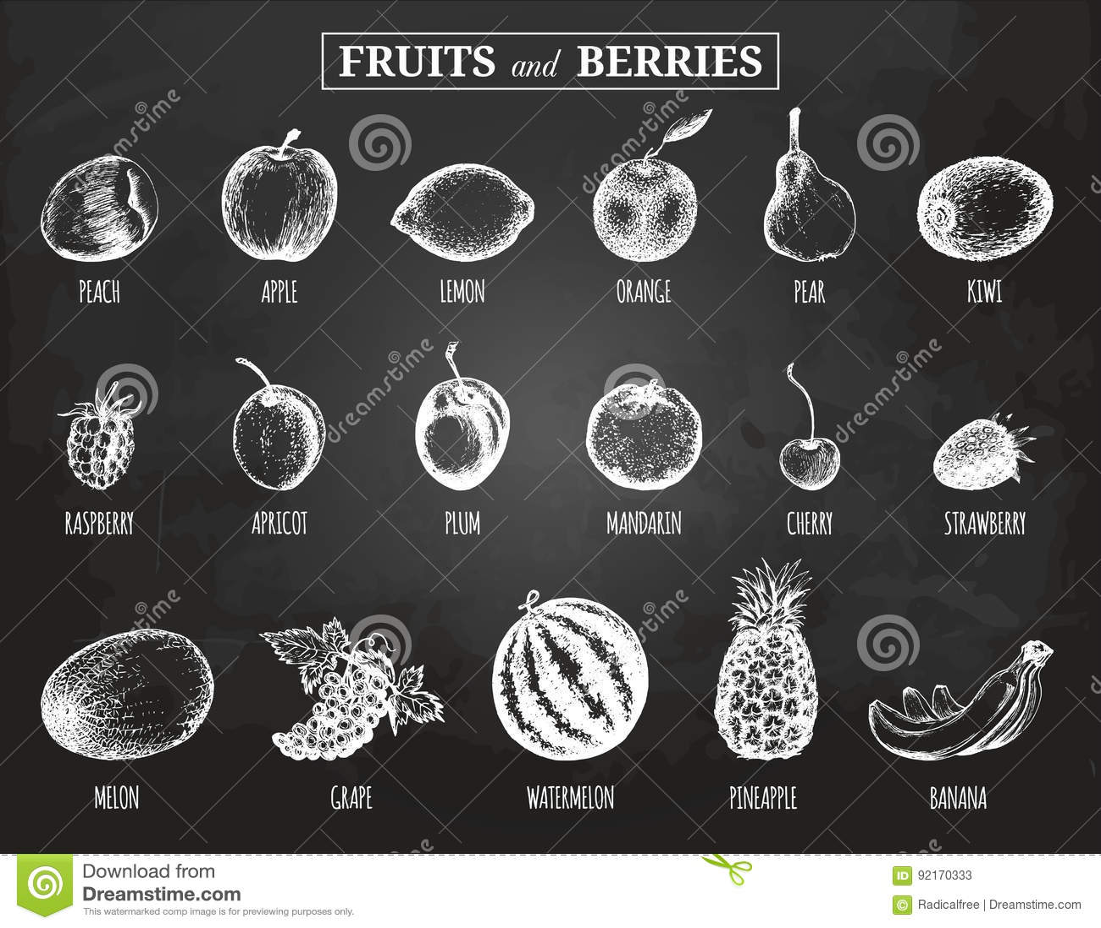 Wektorowe owoc i jagod ilustracje ustawiać Organicznie, eco, życiorys jedzenie Ręka rysująca kreśli na chalkboard śliwce, cytryni