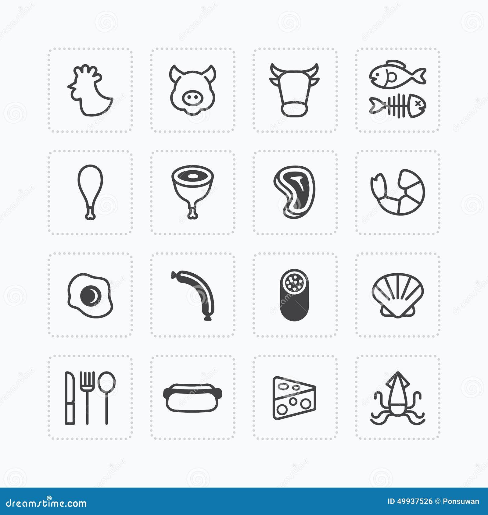 Wektorowe płaskie ikony ustawiać foods zarysowywają pojęcie