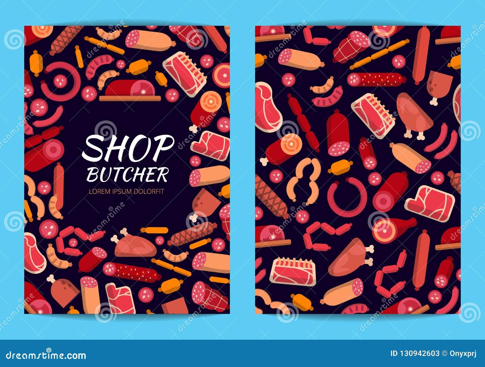 Wektorowe płaskie mięsa, kiełbas ikony karty i