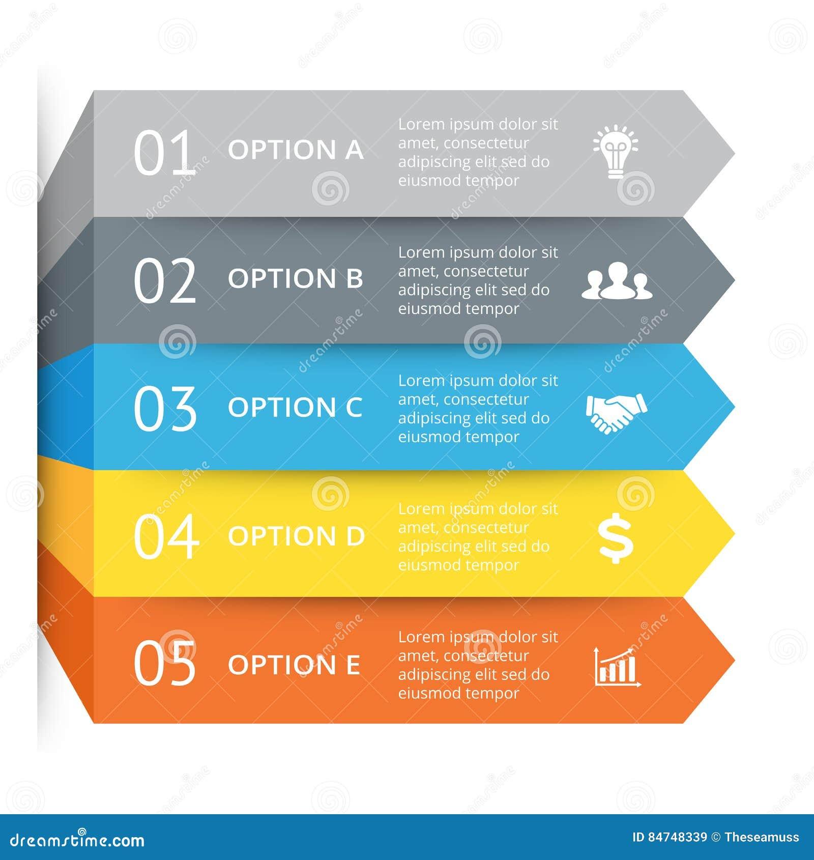Wektorowe strzała infographic, diagram mapa, wykres prezentacja Biznesowy pojęcie z 5 opcjami, części, kroki, procesy