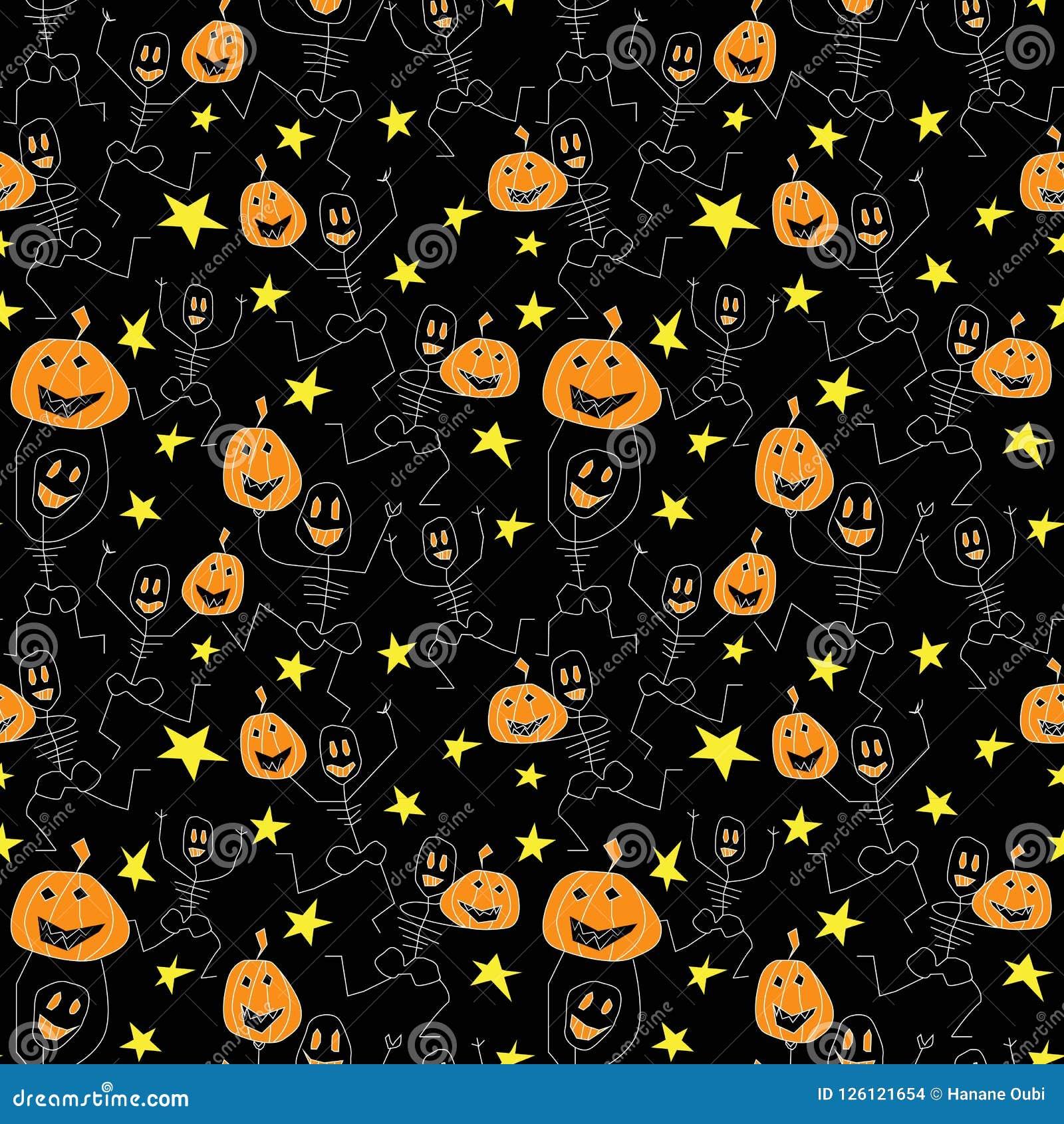 Wektorowe sylwetki dla Halloween wektor bezszwowy wzoru
