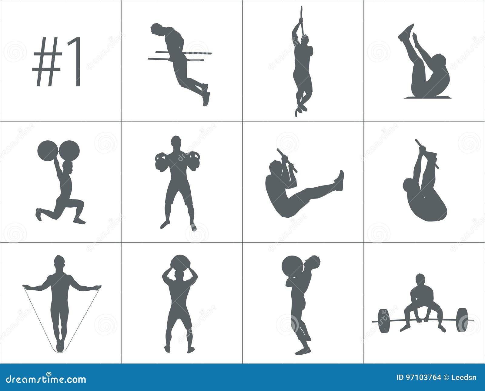 Wektorowe sylwetki ludzie robi sprawności fizycznej i crossfit treningom