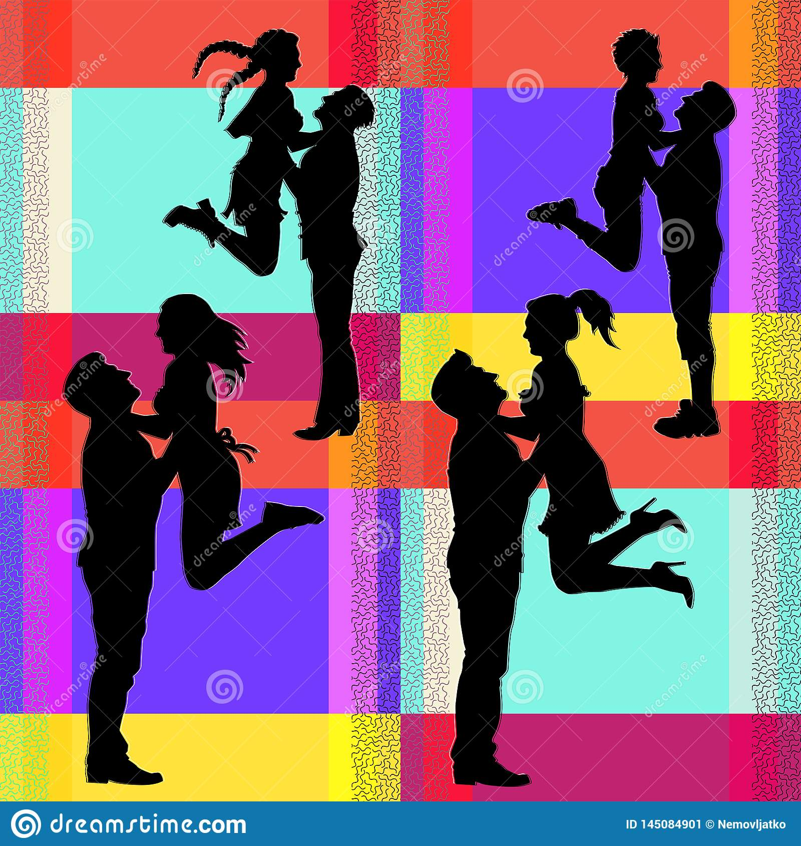 Wektorowe sylwetki radosna doskakiwanie para