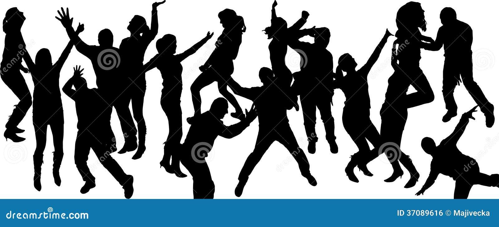 Download Wektorowe Sylwetki Tanów Ludzie. Ilustracja Wektor - Ilustracja złożonej z samiec, muzyka: 37089616