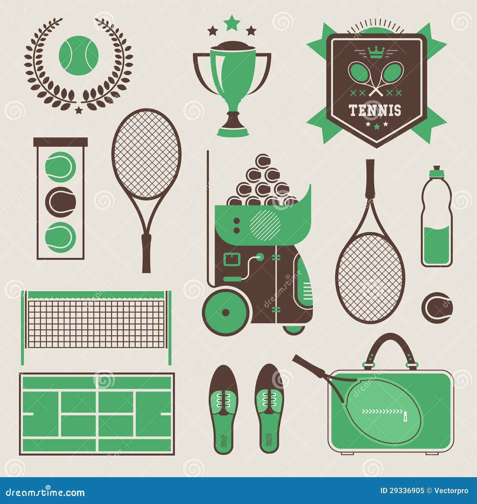 Wektorowe tenisowe ikony