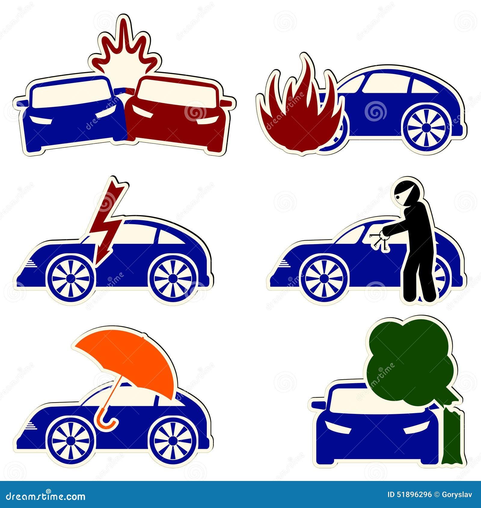 Wektorowe ubezpieczenia samochodu i ryzyka ikony ustawiać
