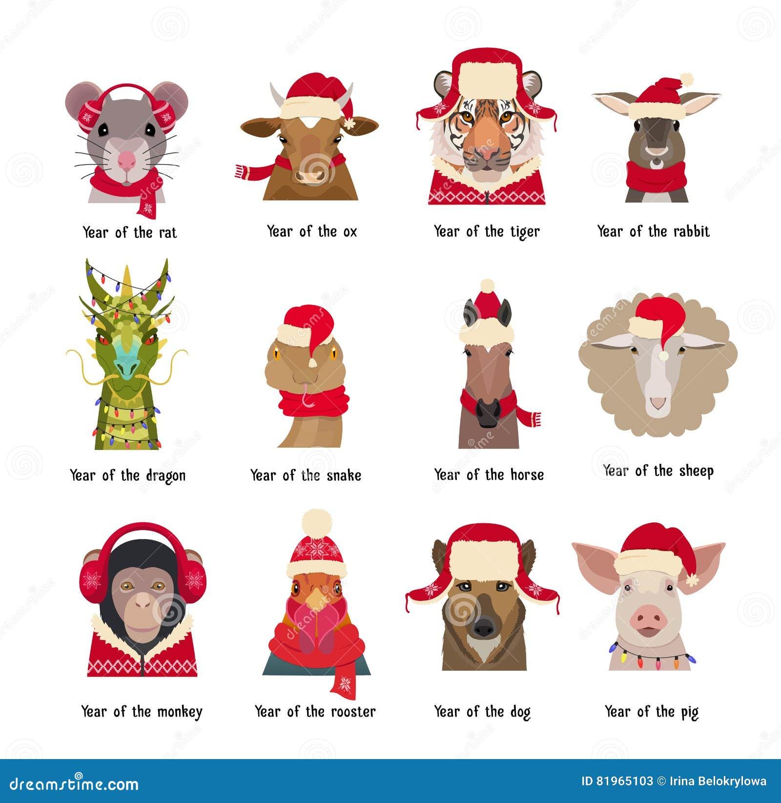Wektorowe zwierzę głowy w czerwieni nakrywają szaliki Chińscy horoskopów symbole