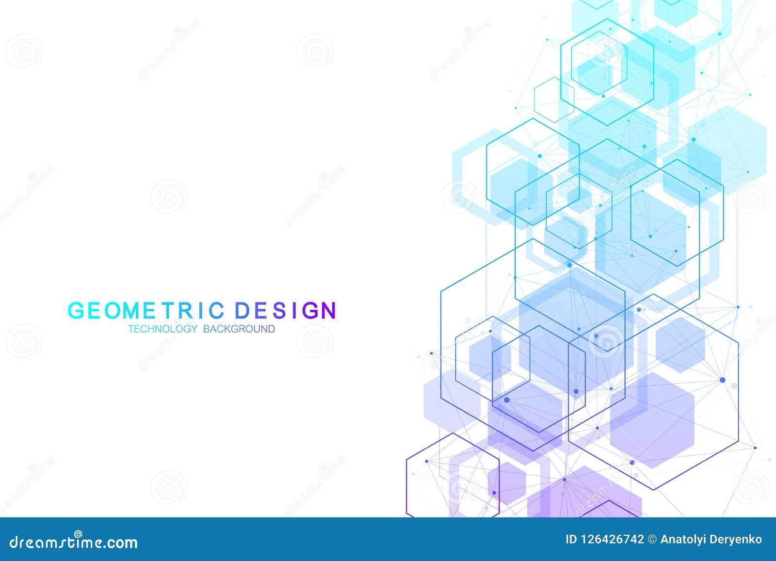 Wektorowego abstrakcjonistycznego tła heksagonalne cząsteczkowe struktury w technologii nauce i tle projektują projekt medyczny